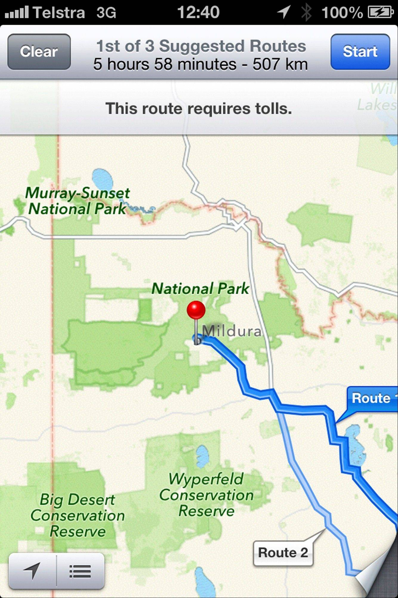 "This screen shot taken Tuesday of an iPhone's Apple mapping application shows the service placing the city of Mildura 44 miles away in the Murray Sunset National Park, a desert-like 1,900 square mil region with scorching temperatures and virtually no mobile phone reception. Australian police are warning the public that errors in Apple's much-maligned mapping application are leading drivers headed to the southern city to take a potentially ""life-threatening"" wrong turn into the middle of a remote state park."