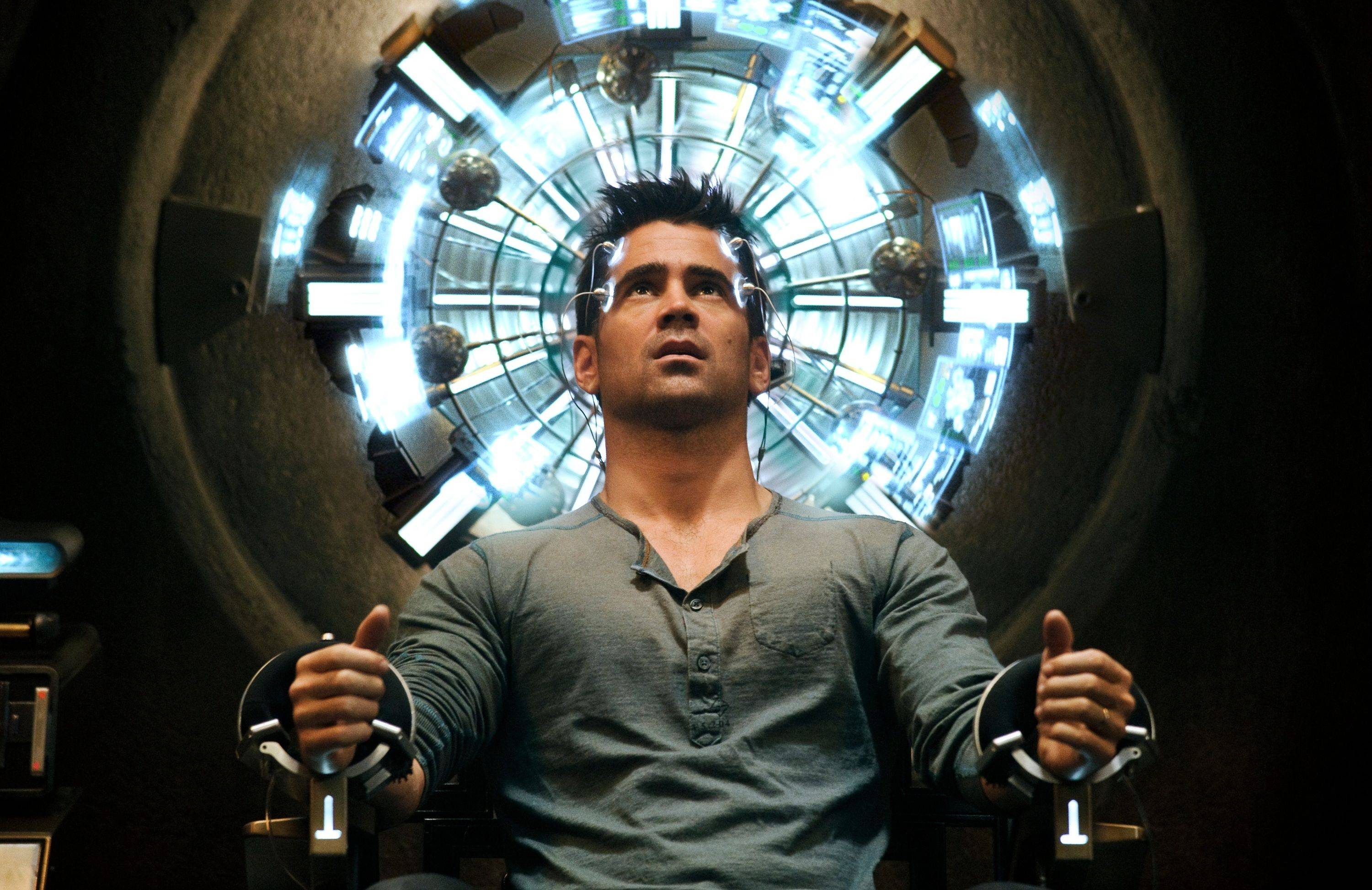 "Colin Farrell in the action thriller ""Total Recall."""
