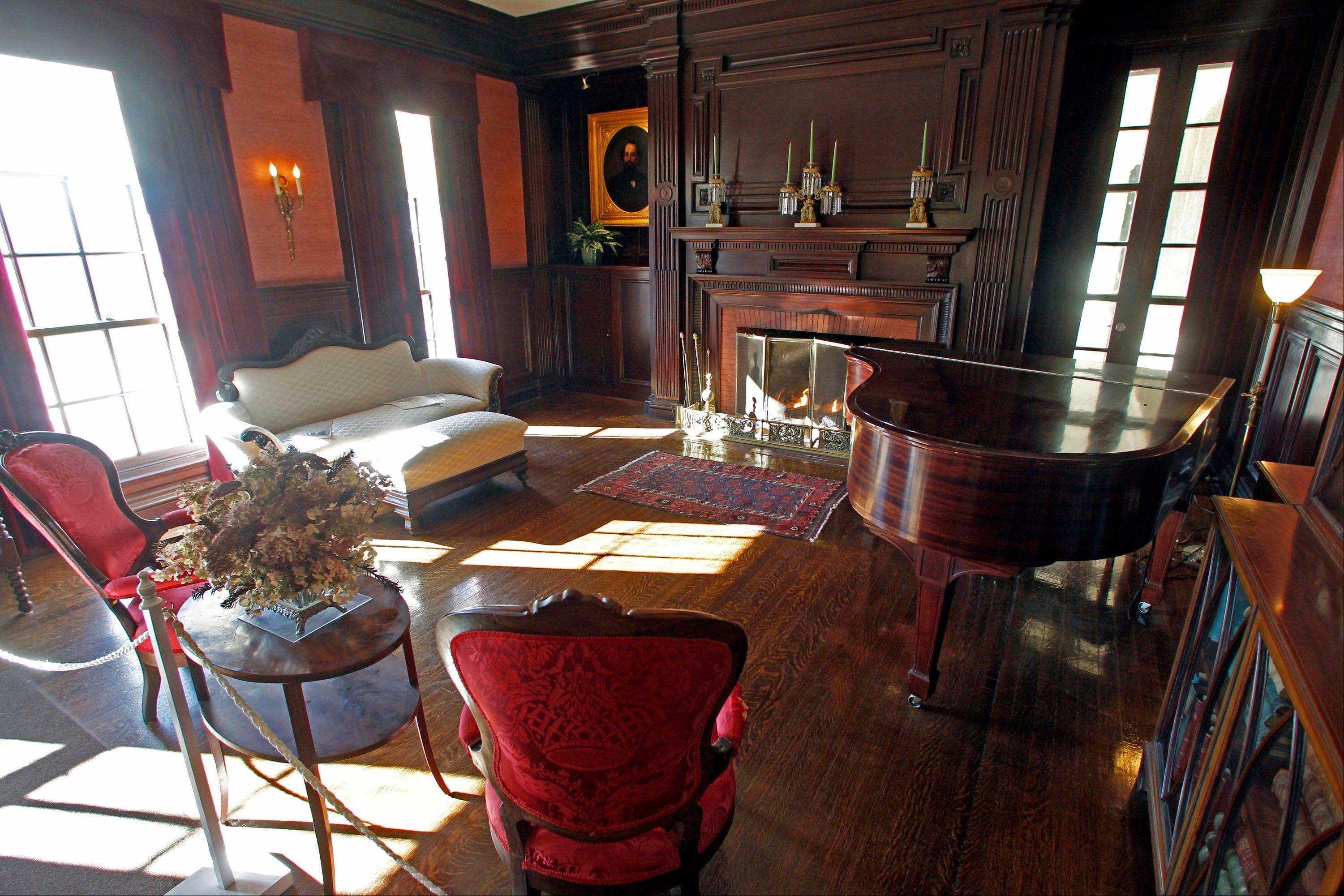 The parlor at the Robert Todd Lincoln mansion in Manchester, Vt.