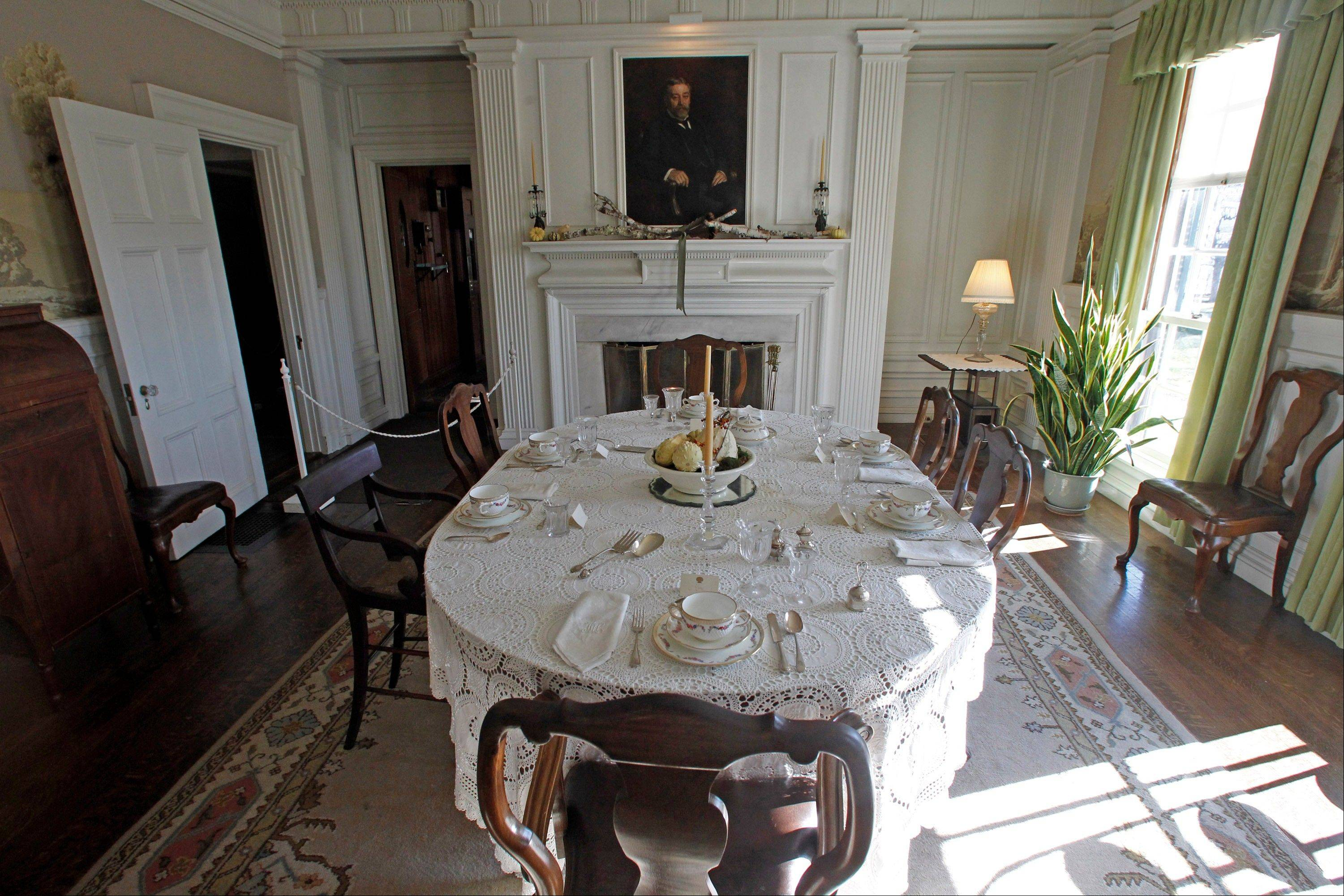 The dining room was a gathering space at the Robert Todd Lincoln mansion Hildene.