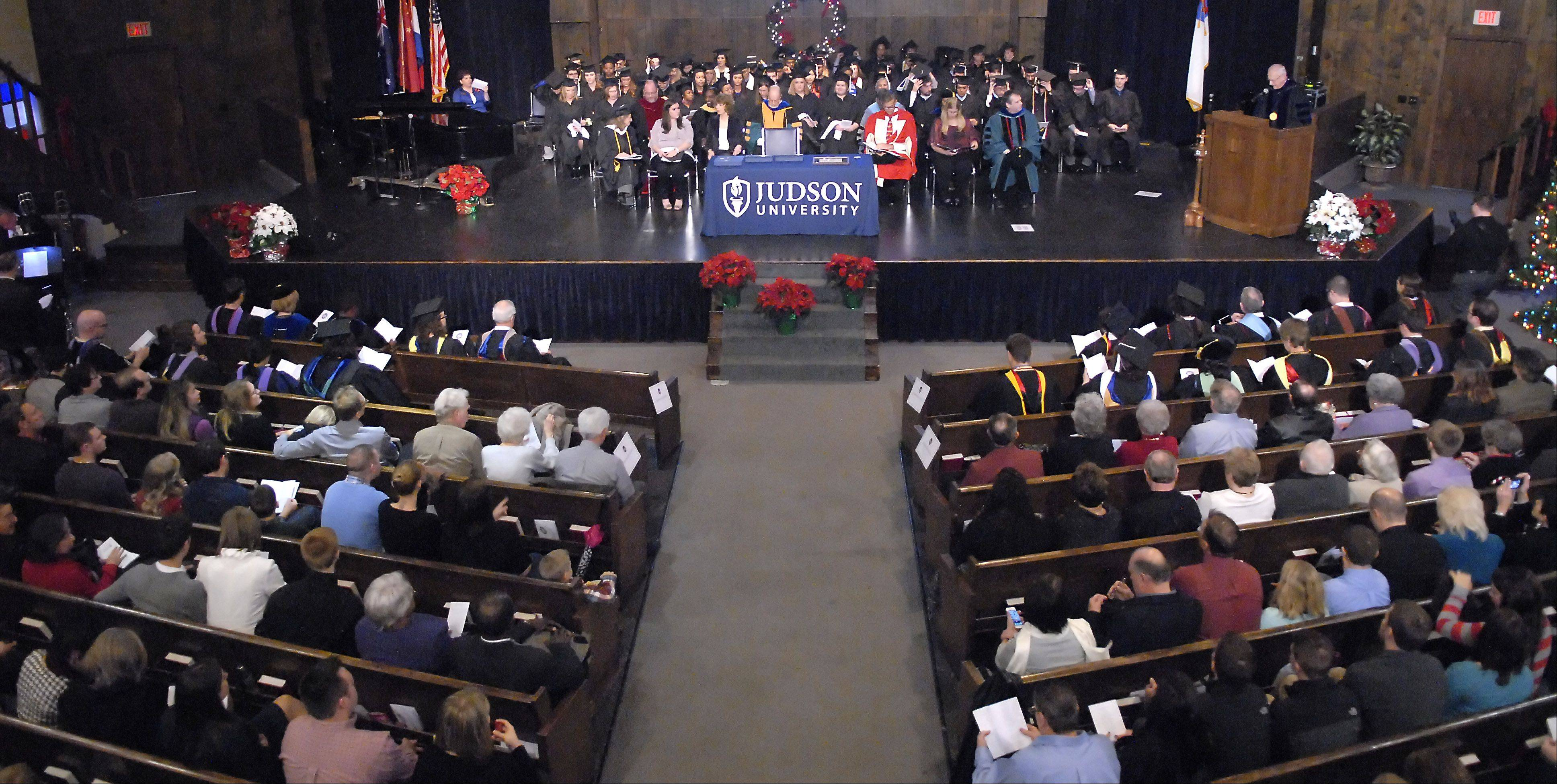 Judson University's morning commencement ceremony took place in the campus chapel in Elgin Saturday.