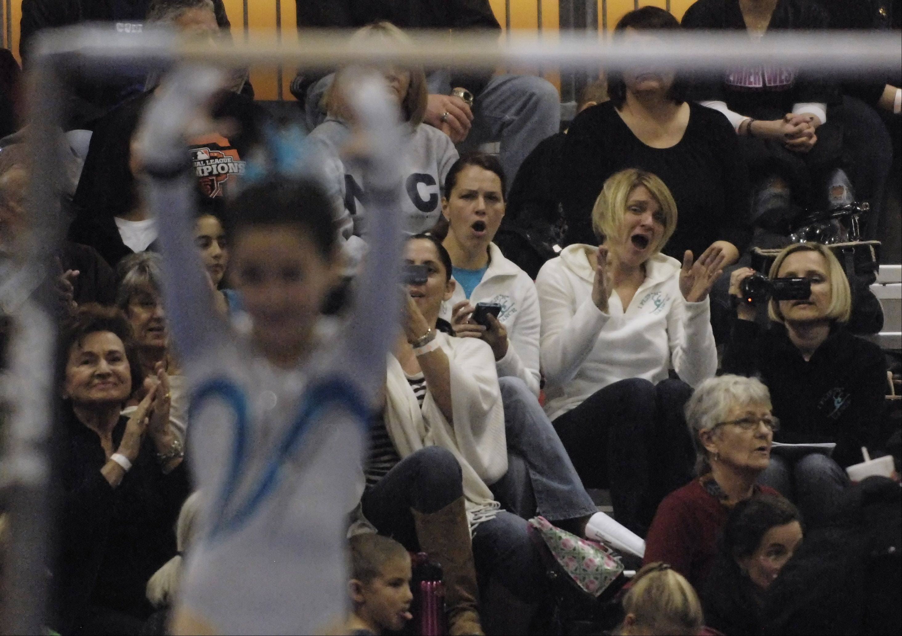 People in the stands watch the girls uneven parallel bars competition during the Hawaiian Pineapple Classic gymnastics meet, held at the Schaumburg Convention Center Saturday.
