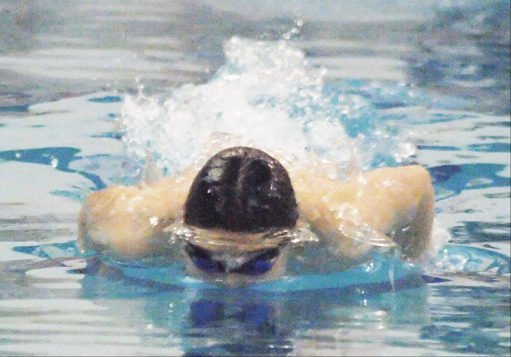 Mich Schwers swims the 200 IM during the Neuqua Valley boys swimming invitational Saturday.