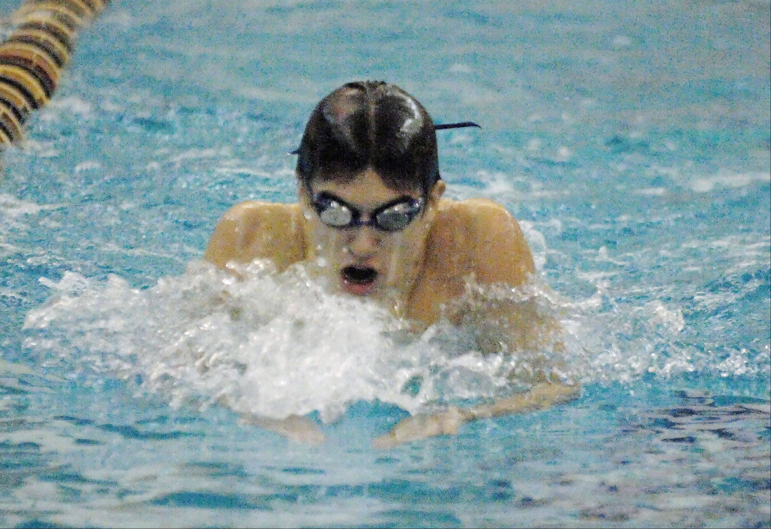 Matt Salerno of Metea Valley swims the 200 IM during the Neuqua Valley boys swimming invitational Saturday.