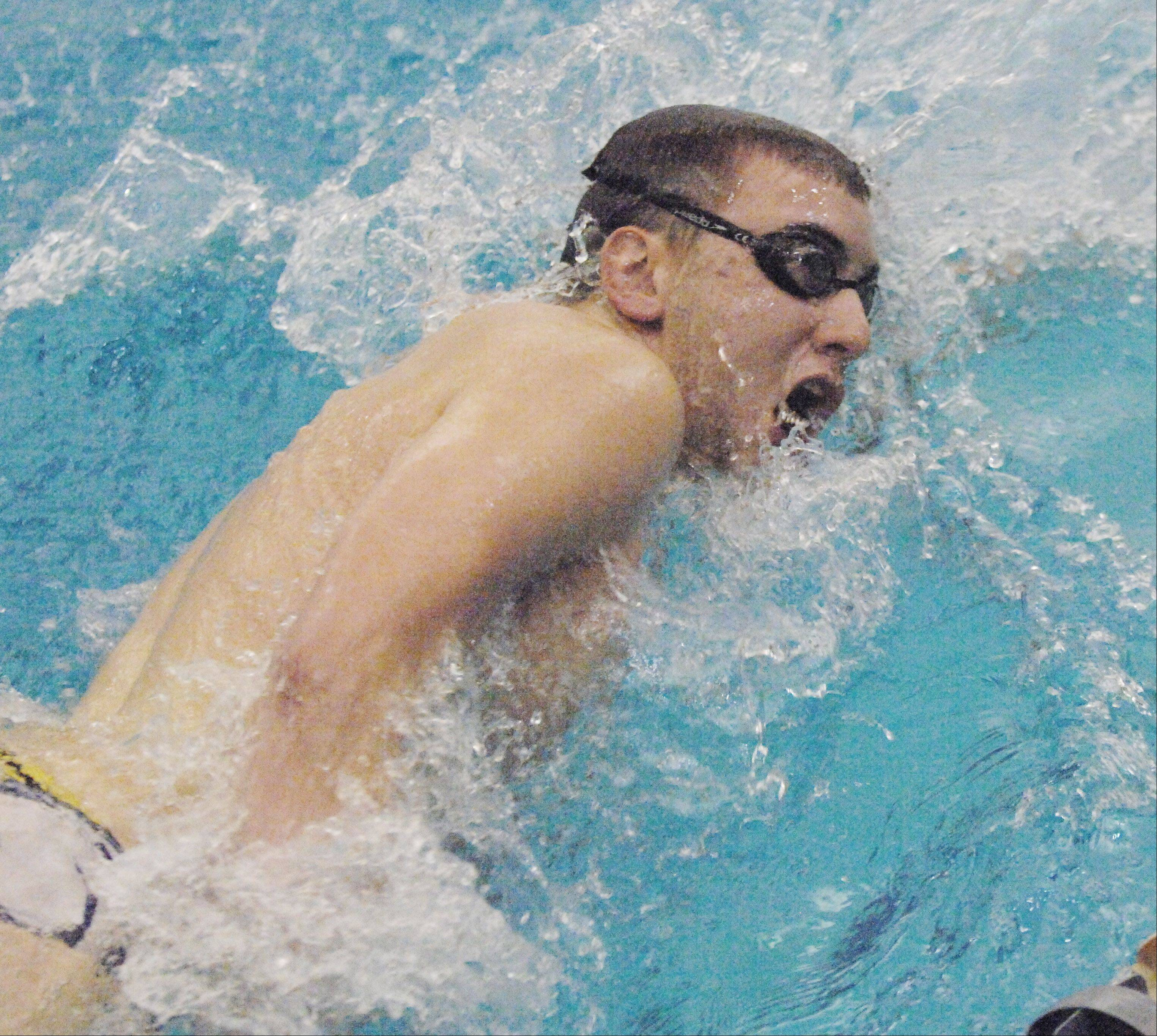 Brian DePuy of Neuqua Valley swims the 200 free during the Neuqua Valley boys swimming invitational Saturday.