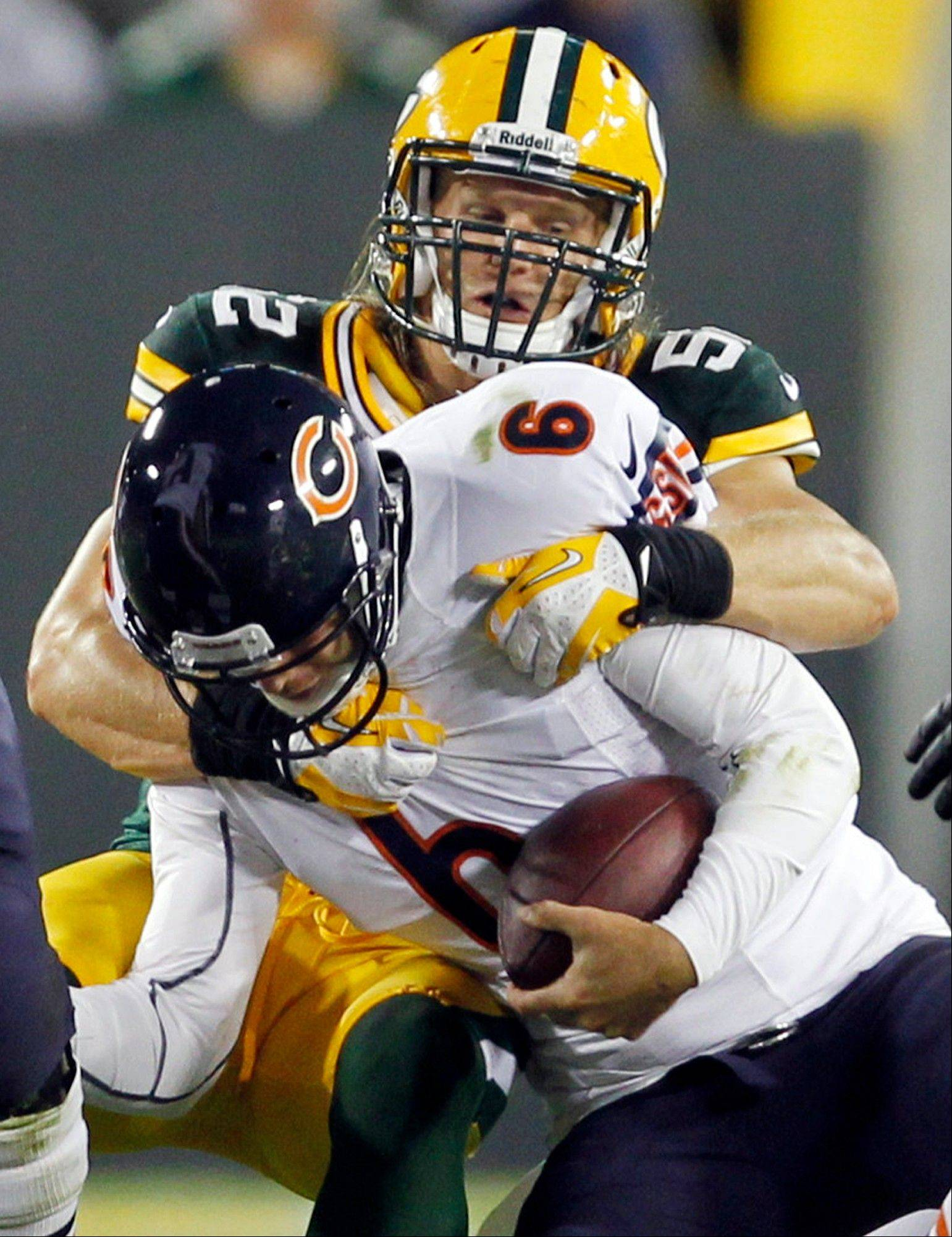 In this Sept. 13, 2012, file photo, Green Bay Packers' Clay Matthews sacks Jay Cutler during the first half. Matthews is expected to play today after missing time due to injury.