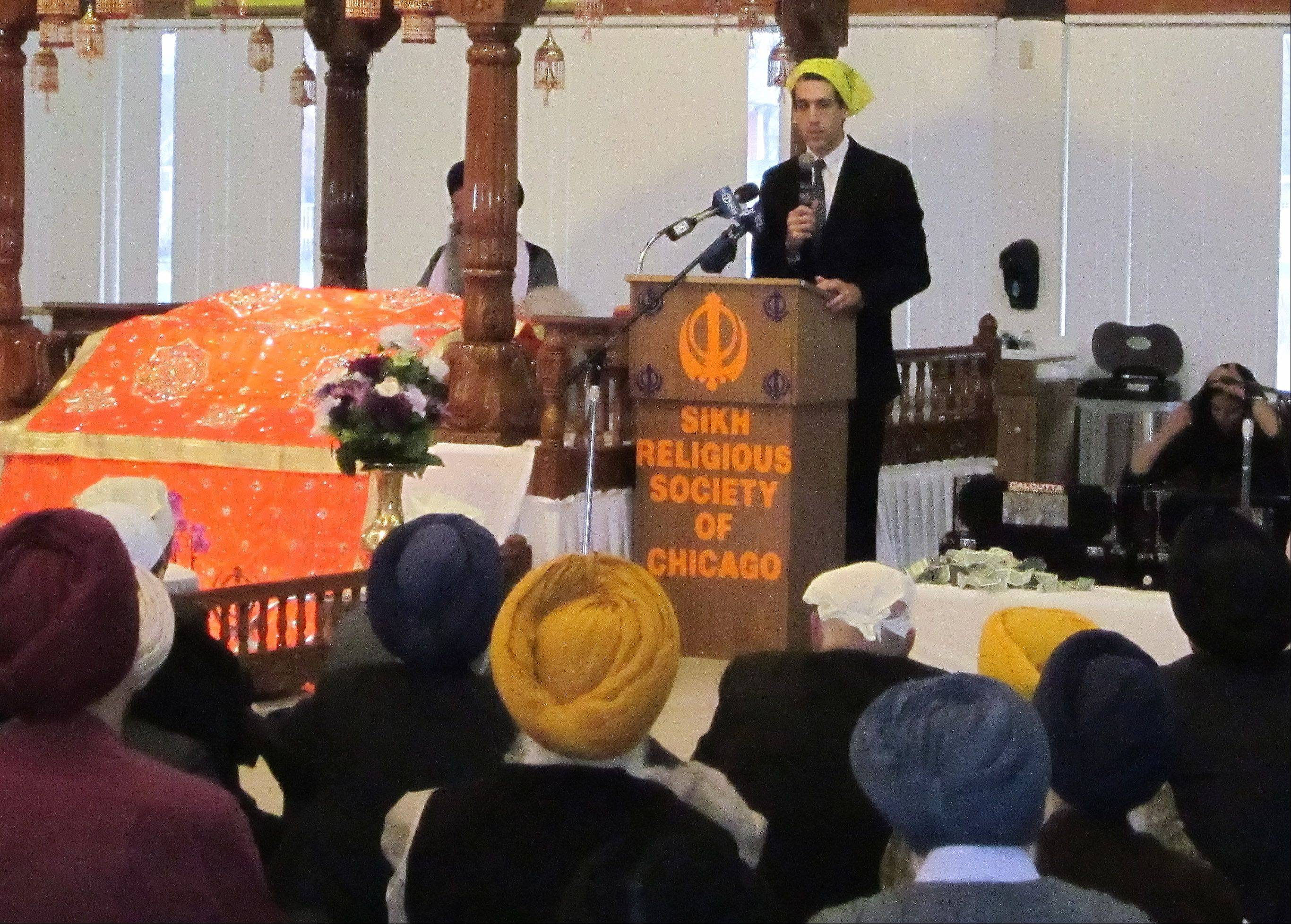 State Rep. Daniel Biss is the chief sponsor of House Resolution 1193, which addresses the violent attacks on Sikh Americans, Muslim Americans and other minorities, as well as denounces hate crimes and hateful political rhetoric. Biss spoke Sunday during a ceremony at the Sikh Religious Society in Palatine.