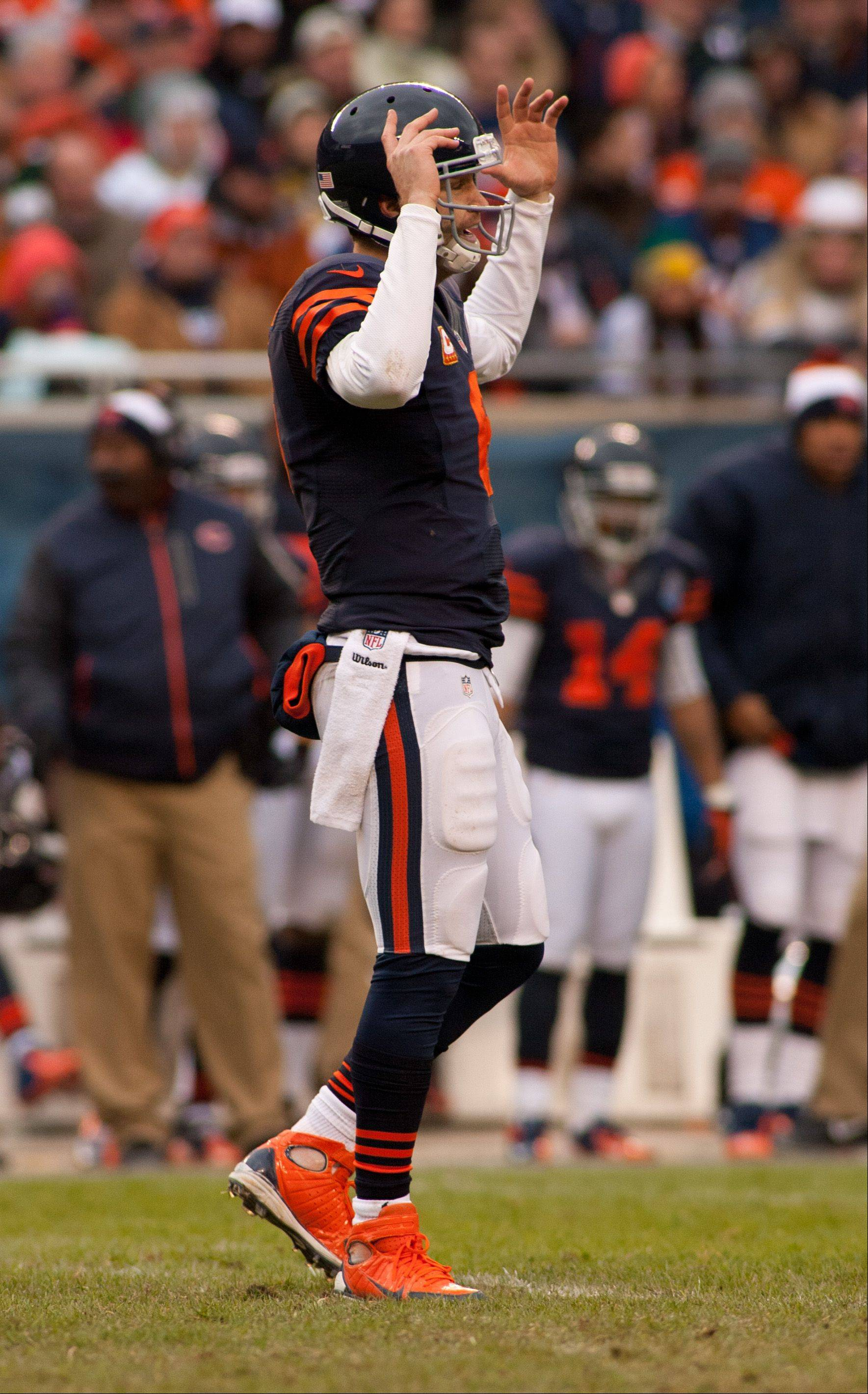 The Bears� Jay Cutler shows second half frustration after his down field pass, during Sunday�s game at Soldier Field in Chicago.