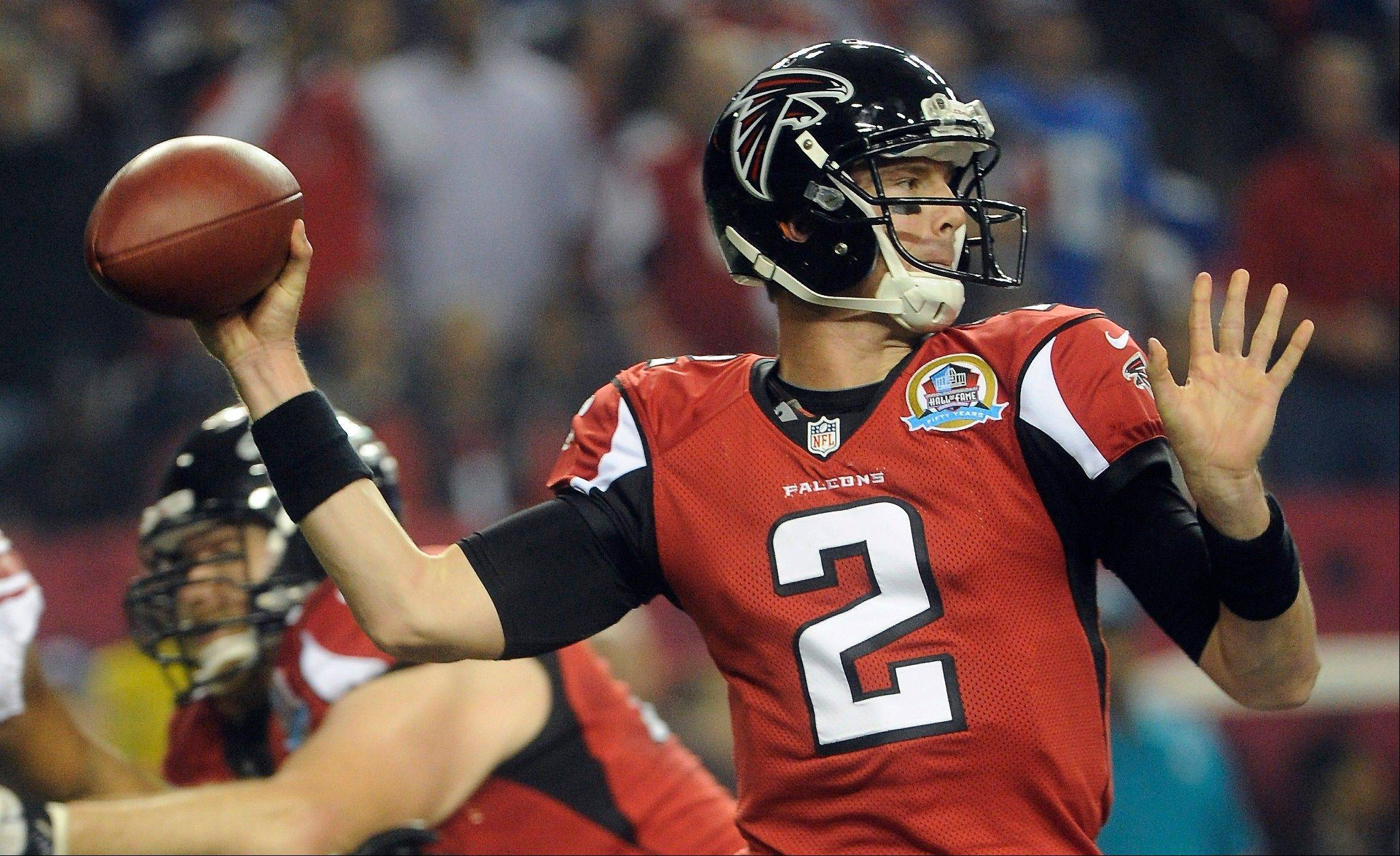 Atlanta Falcons quarterback Matt Ryan (2) works during the first half against New York Giants, Sunday in Atlanta.