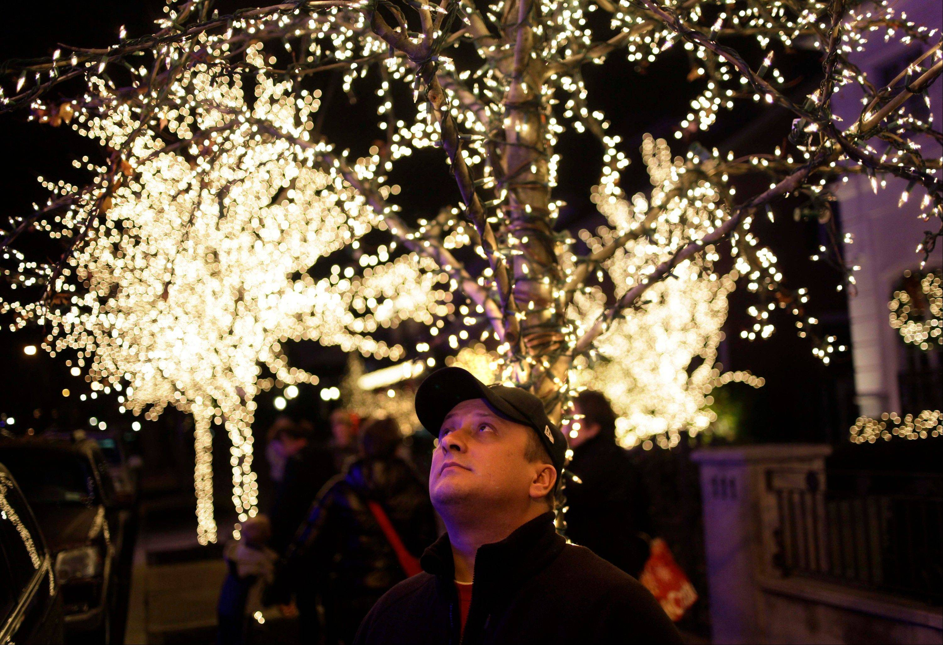 Erik Hall of Rochester, N.Y., looks up at the elaborate holiday displays during a tour in Brooklyn.