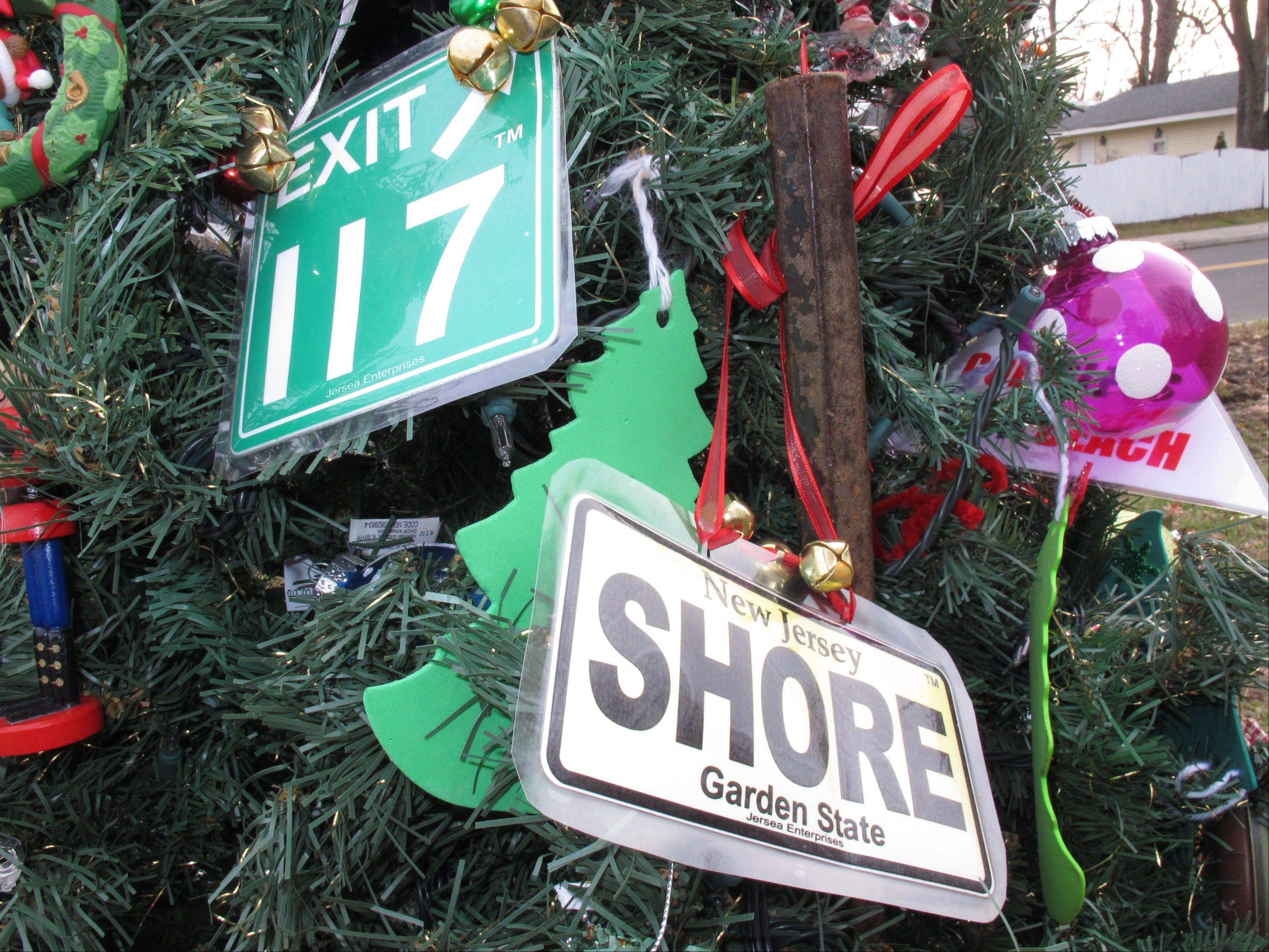 "A handmade ornament adorns the ""Tree Of Hope,"" in Union Beach, N.J."