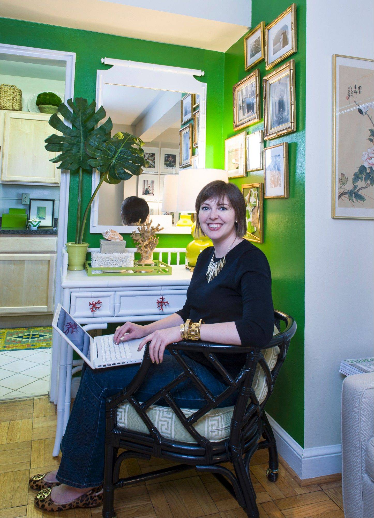Skyla Freeman started her design blog, Sanity Fair, a few days after leaving her job at the White House in 2009. Her home office, a bamboo desk, is tucked into a corner of her studio apartment.