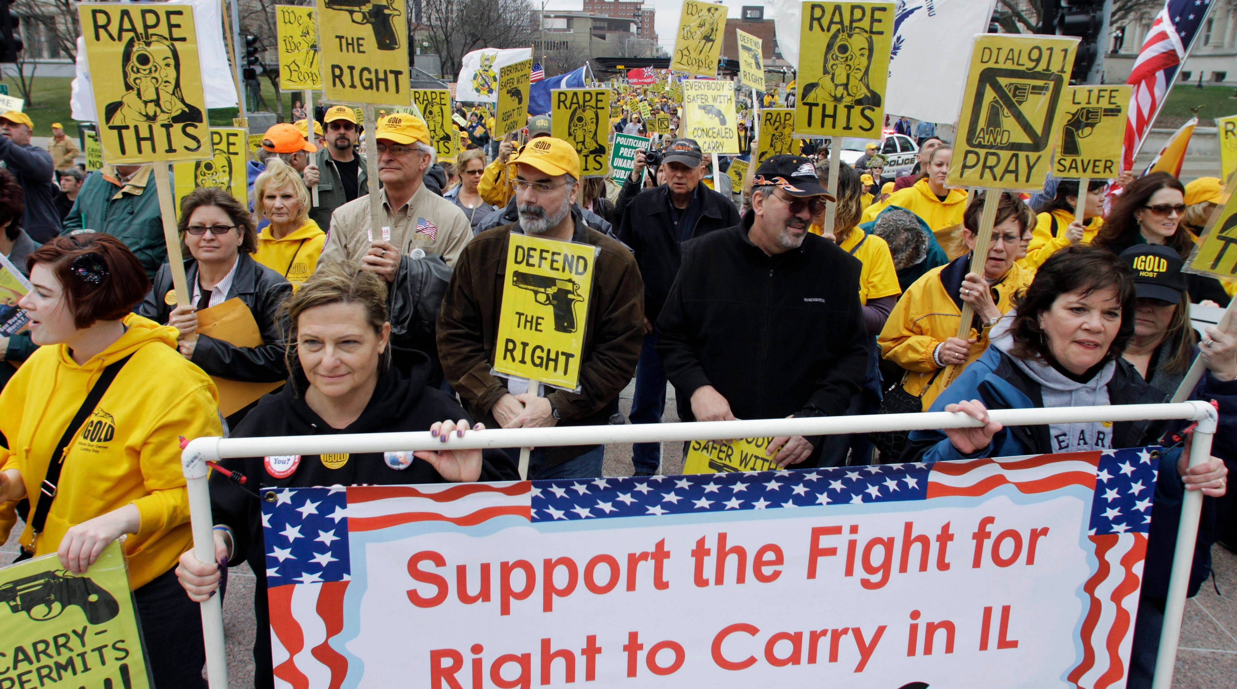 Gun owners and supporters participate in an Illinois Gun Owners Lobby Day rally at the Illinois State Capitol in Springfield last March 7. The issue of whether people have a right to be armed in public is moving closer to a Supreme Court review.