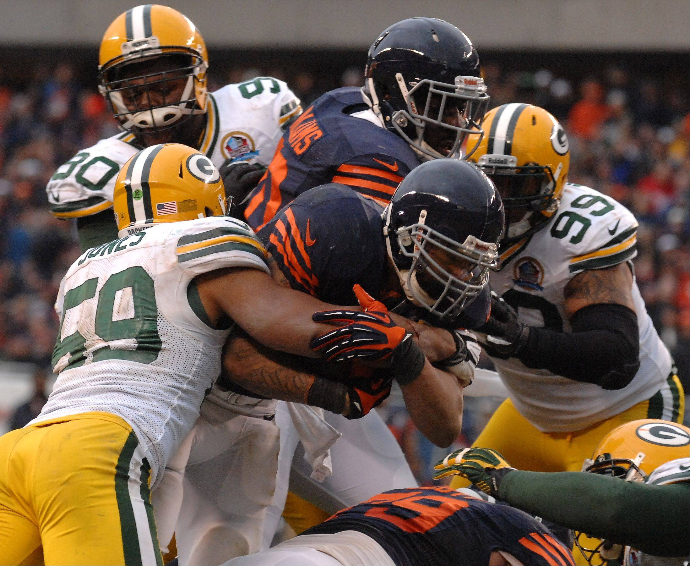 Chicago Bears running back Matt Forte (22) was stopped on three straight goal line carries as the Packers held them to a field goal during Sunday's game at Soldier Field in Chicago.