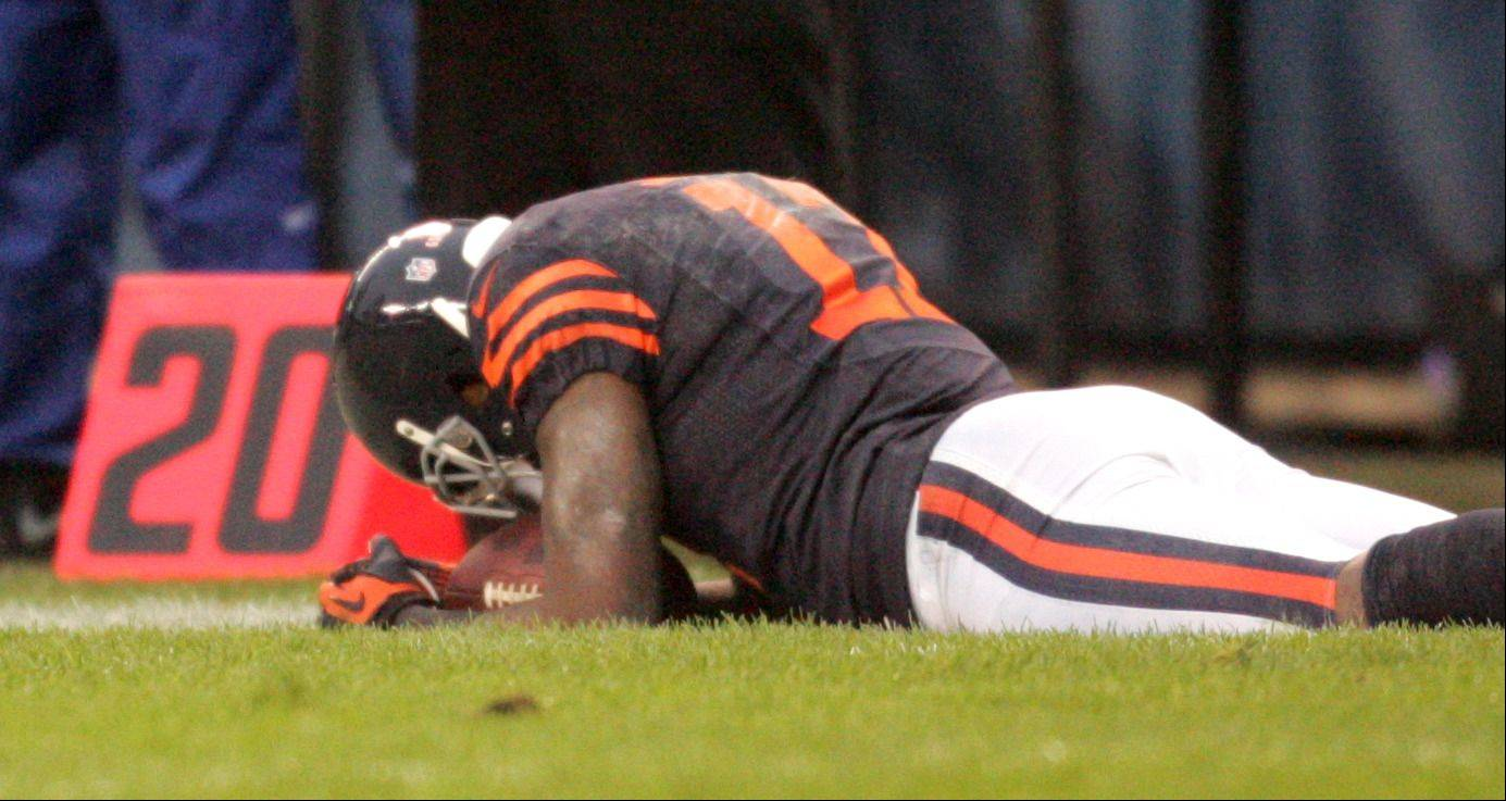 Chicago Bears wide receiver Alshon Jeffery (17) reacts after being called with pass interference during the fourth quarter of Sunday's game at Soldier Field in Chicago.