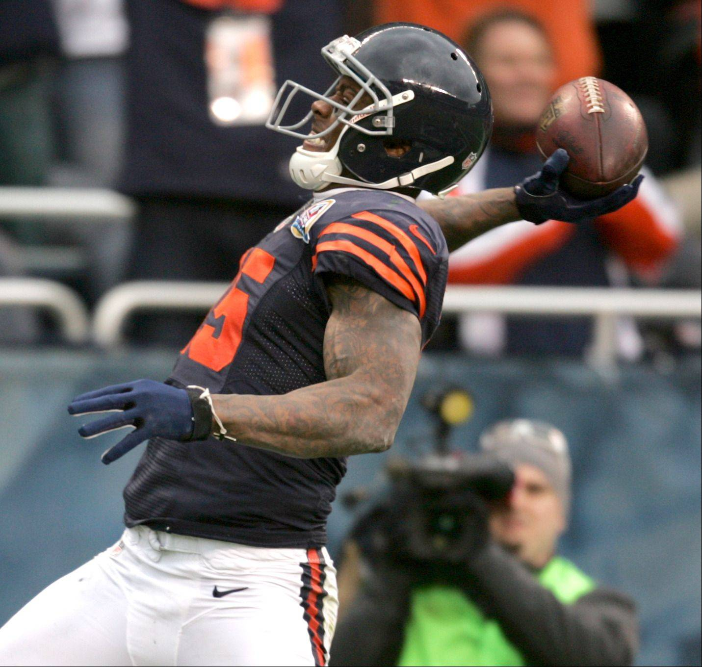 Chicago Bears wide receiver Brandon Marshall (15) reacts following a touchdown during Sunday's game at Soldier Field in Chicago.