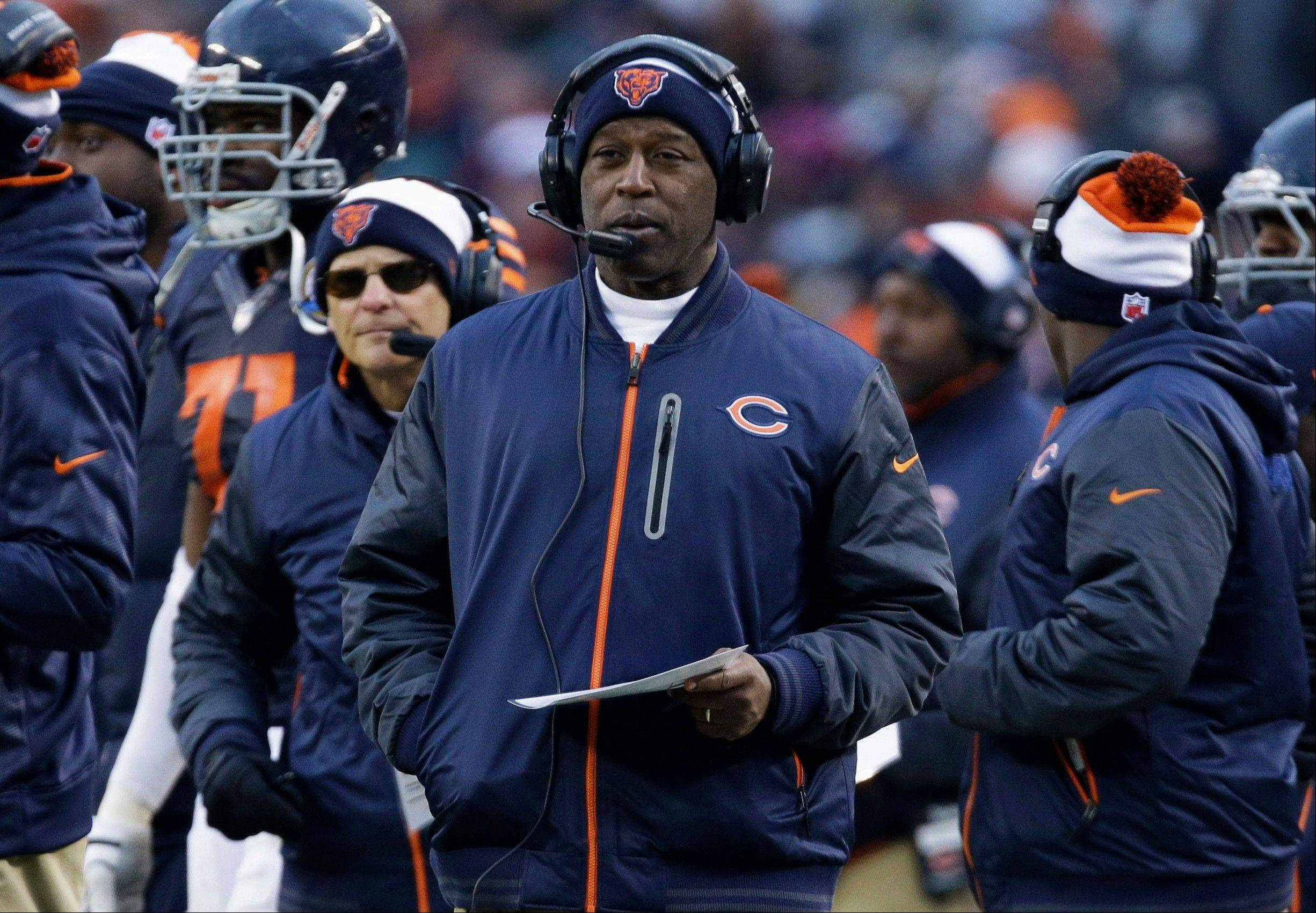 Chicago Bears head coach Lovie Smith watches the action against the Green Bay Packers in the second half of an NFL football game in Chicago, Sunday, Dec. 16, 2012. The Packers won 21-13 to clinch the NFC North division title.