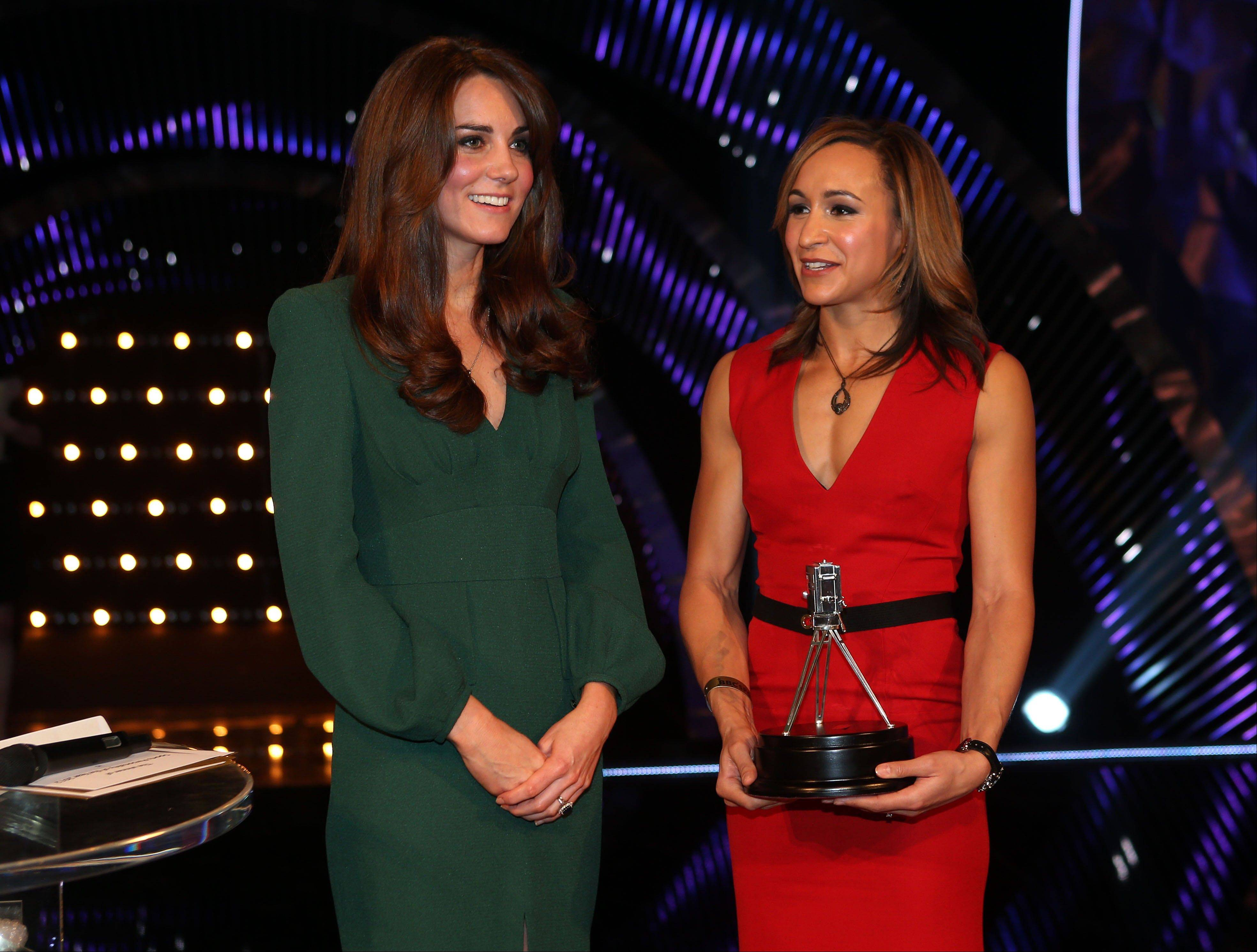 Kate, the Duchess of Cambridge, left, stands alongside second place Sports Personality of the Year 2012, British athlete Jessica Ennis, during the BBC Sports Personality of the Year Awards 2012 in London on Sunday.
