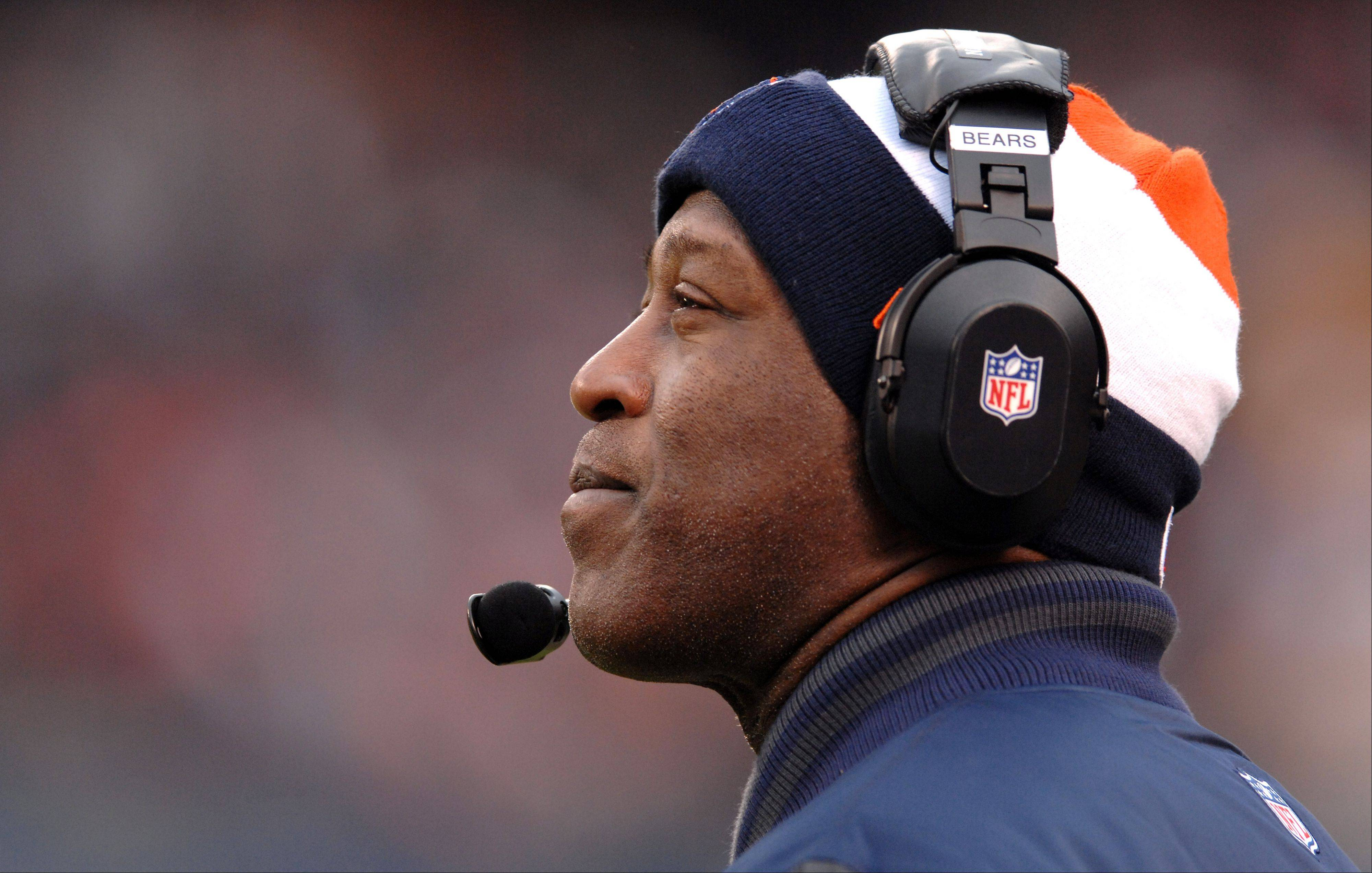 Chicago Bears head coach Lovie Smith watches the action during Sunday's game at Soldier Field in Chicago.