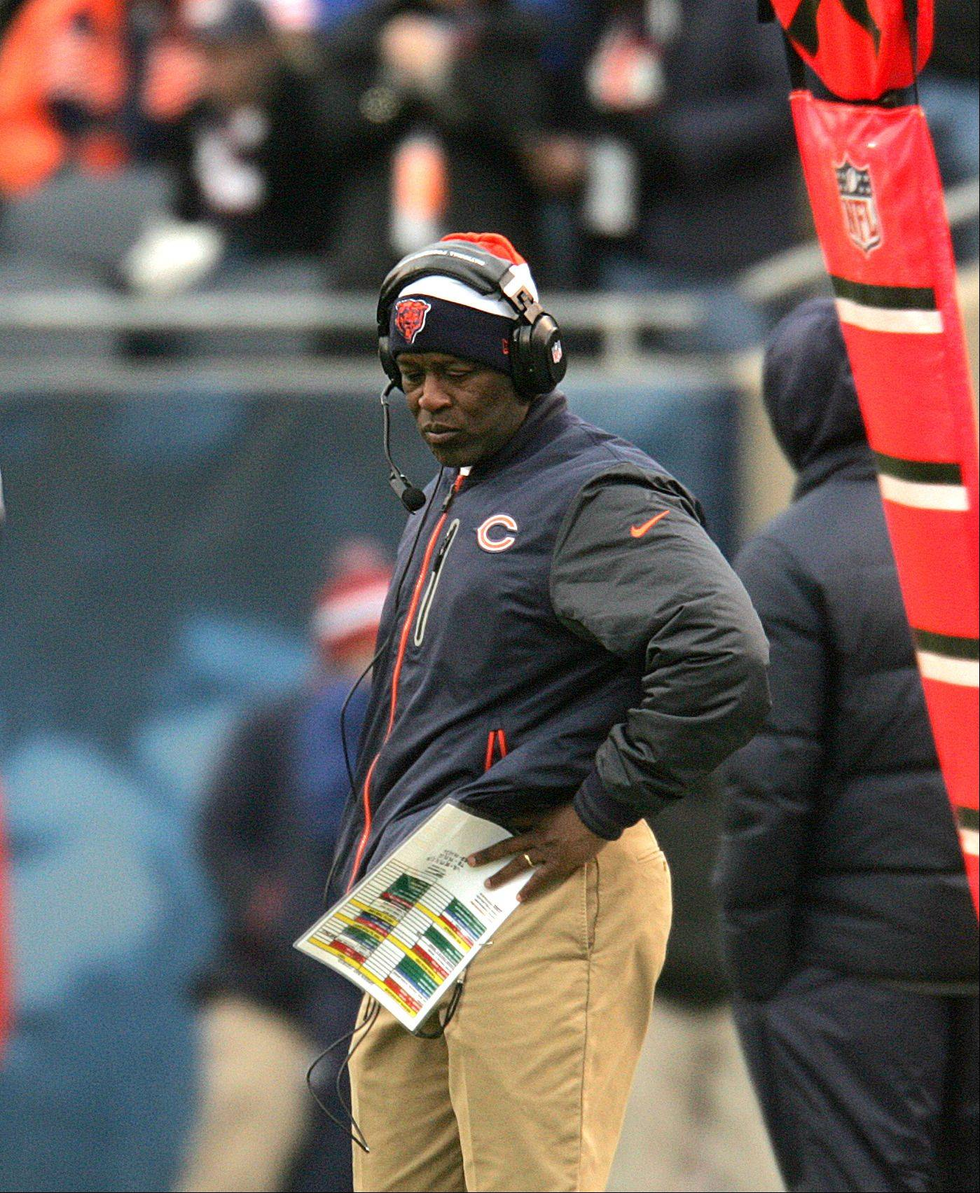 Bears head coach Lovie Smith reacts after a Packers touchdown in the first half of Sunday's game at Soldier Field in Chicago.