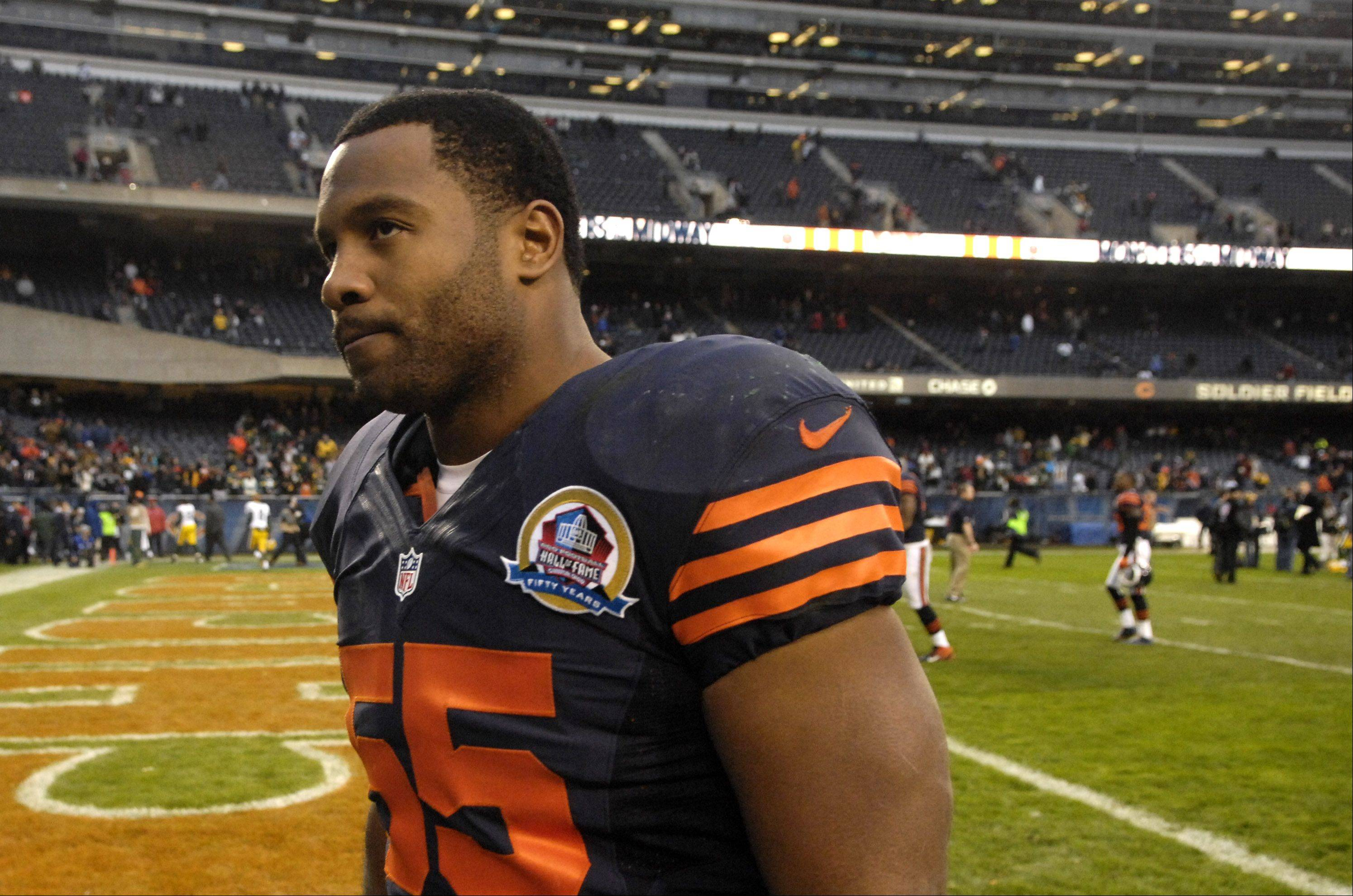 Chicago Bears outside linebacker Lance Briggs (55) walks off the field following Sunday's loss to the Packers at Soldier Field in Chicago.