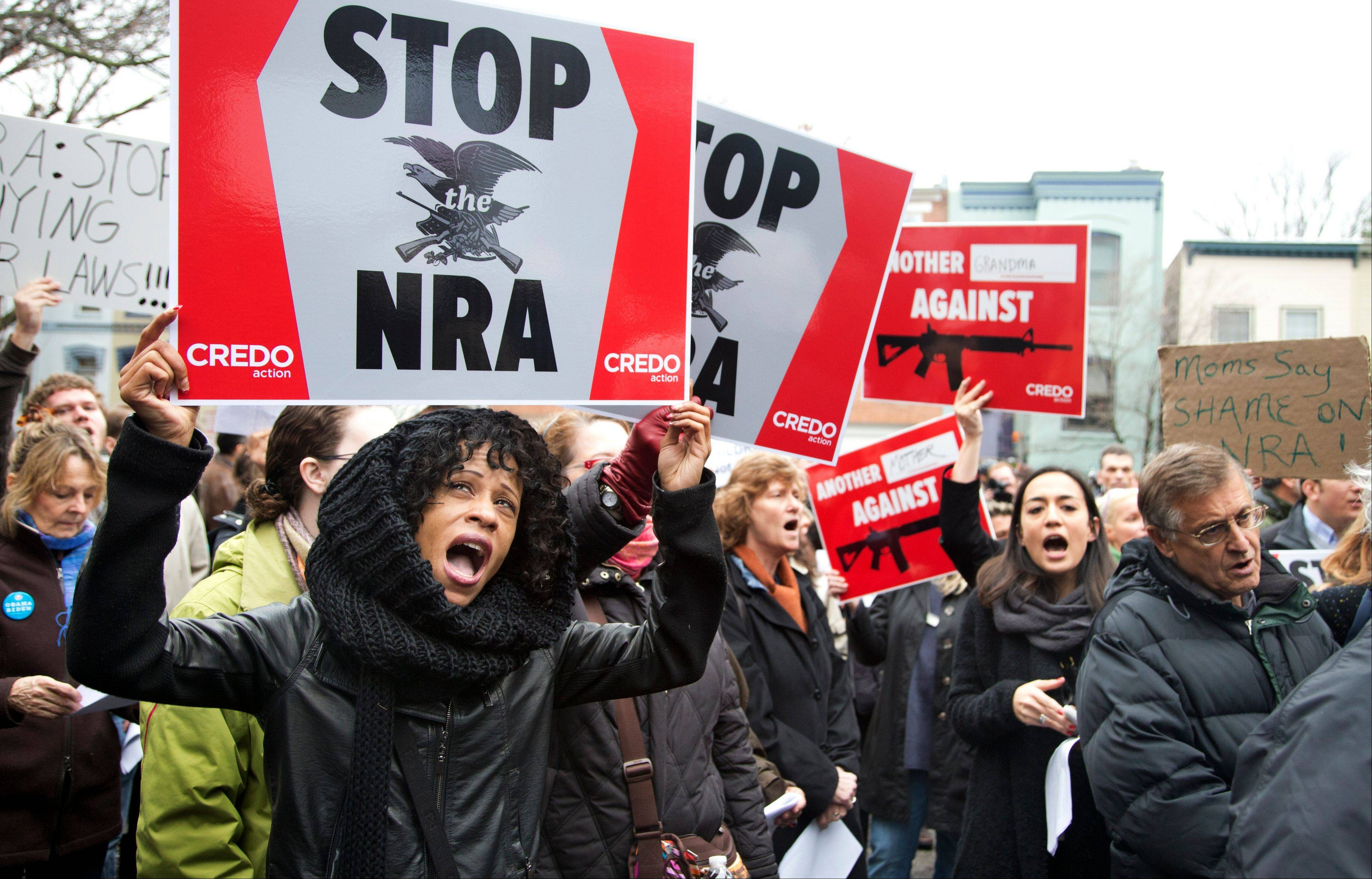 On Monday, the NRA offered no rebuttal as 300 anti-gun protesters marched to its Capitol Hill office.