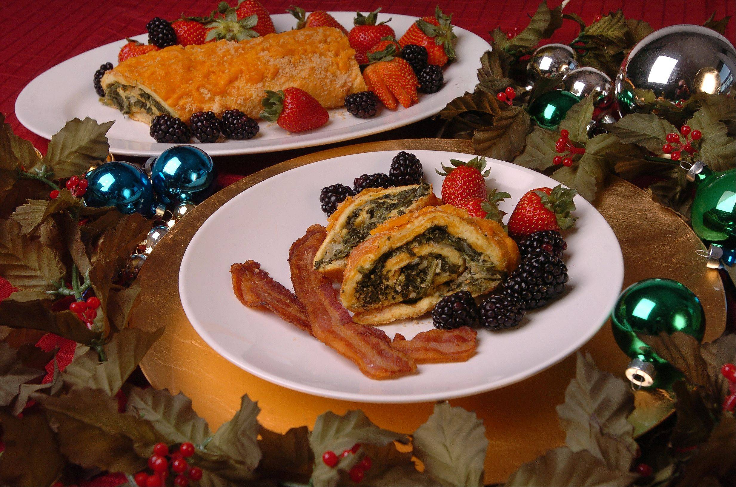 Make this rolled spinach souffle on Christmas Eve and enjoy an easy and elegent Christmas morning meal.