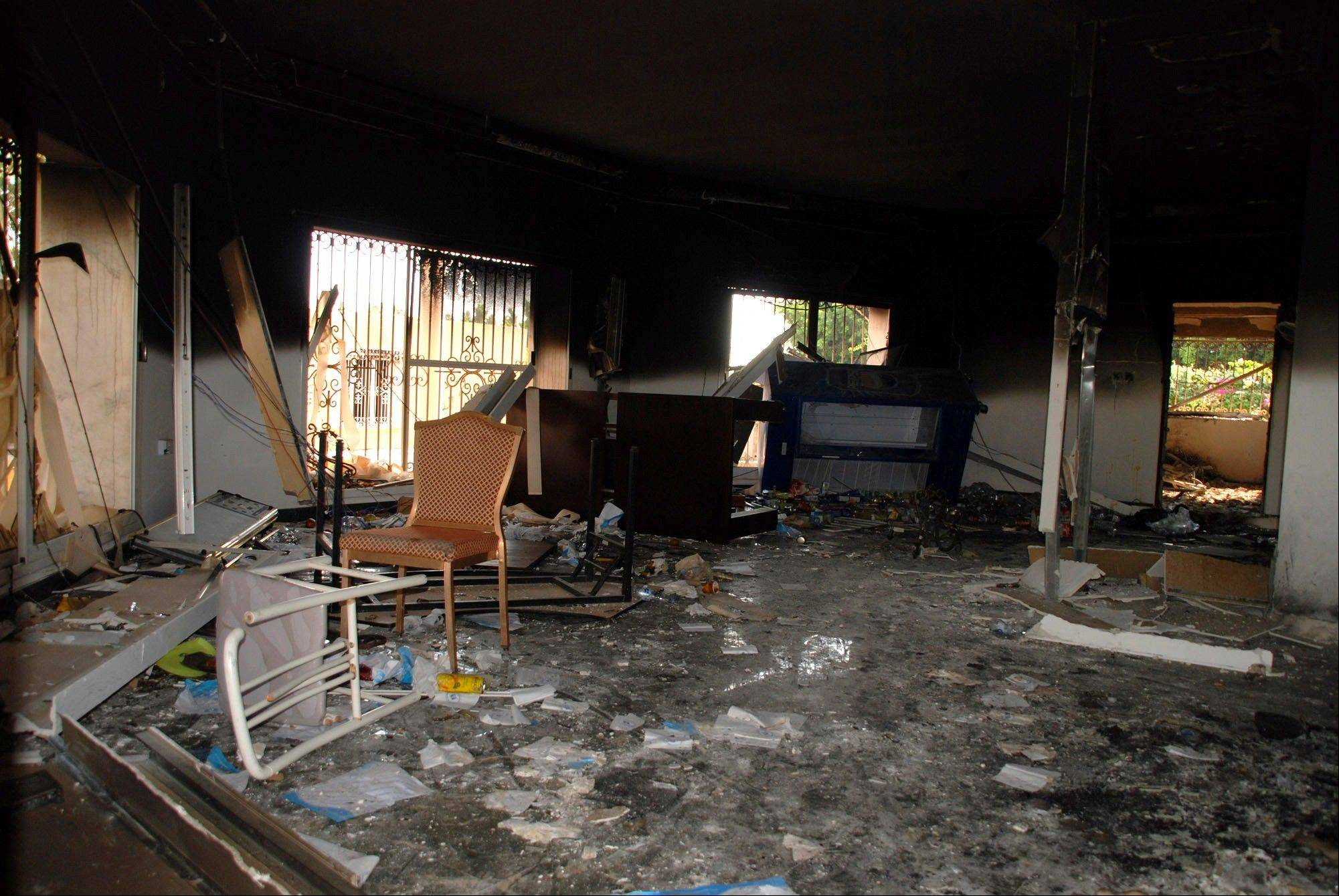 Glass, debris and overturned furniture are strewn inside a room in the gutted U.S. consulate in Benghazi, Libya, after an attack that killed four Americans, including Ambassador Chris Stevens, Wednesday, Sept. 12, 2012.