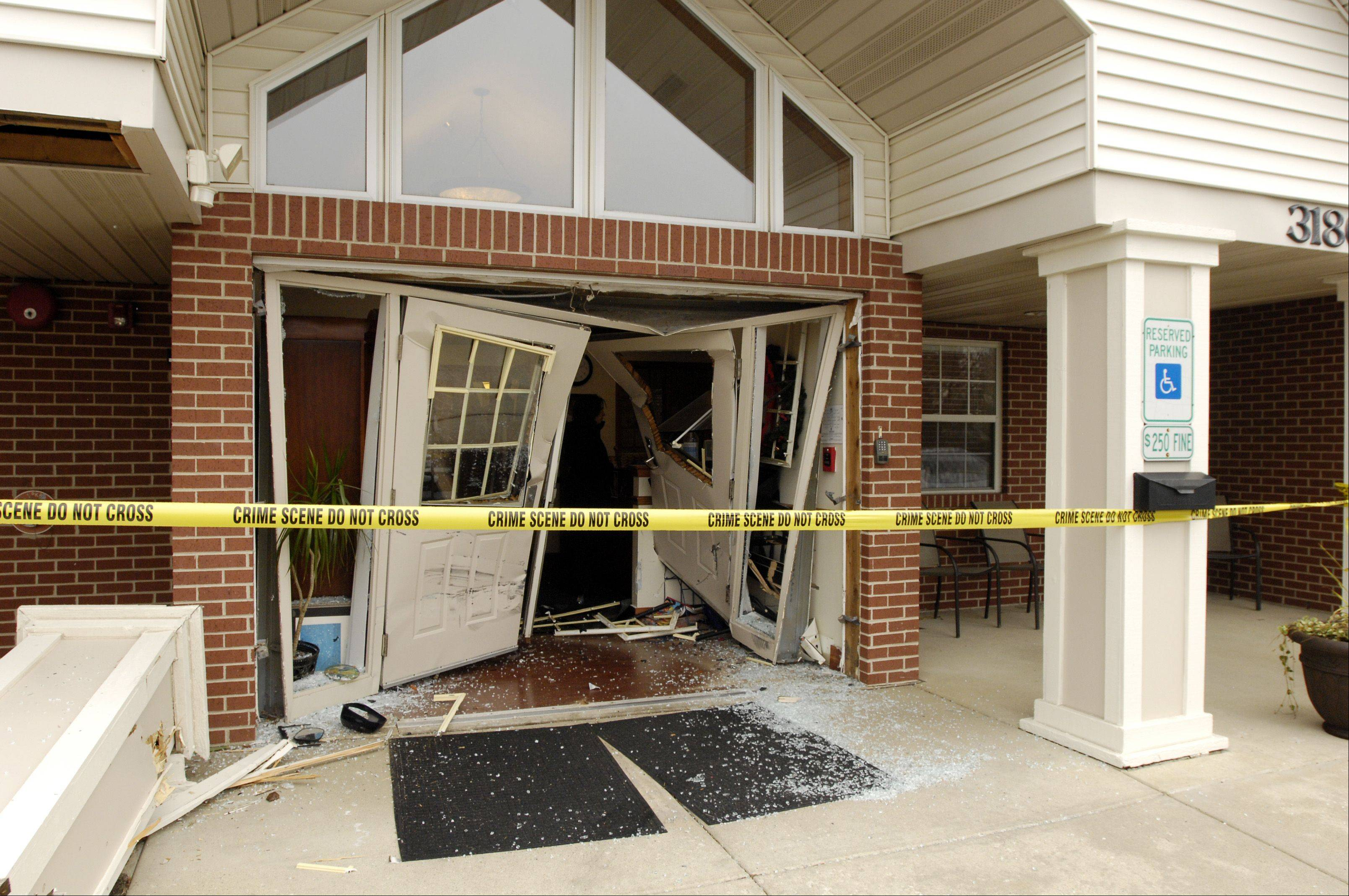 No injuries were reported Tuesday morning when a mom bringing her child to the Aurora Montessori School in the 3100 block of North Aurora Road accidentally crashed her Honda through the building's front doors.