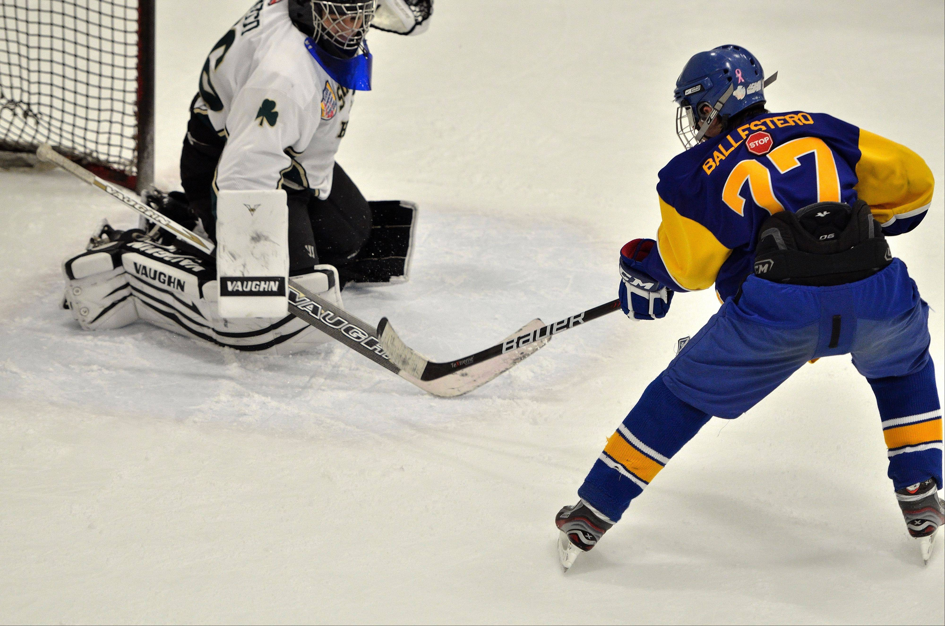 "Senior winger Manny Ballestero, ""The Warren Rocket,"" has helped fuel the Blue Devils this hockey season."