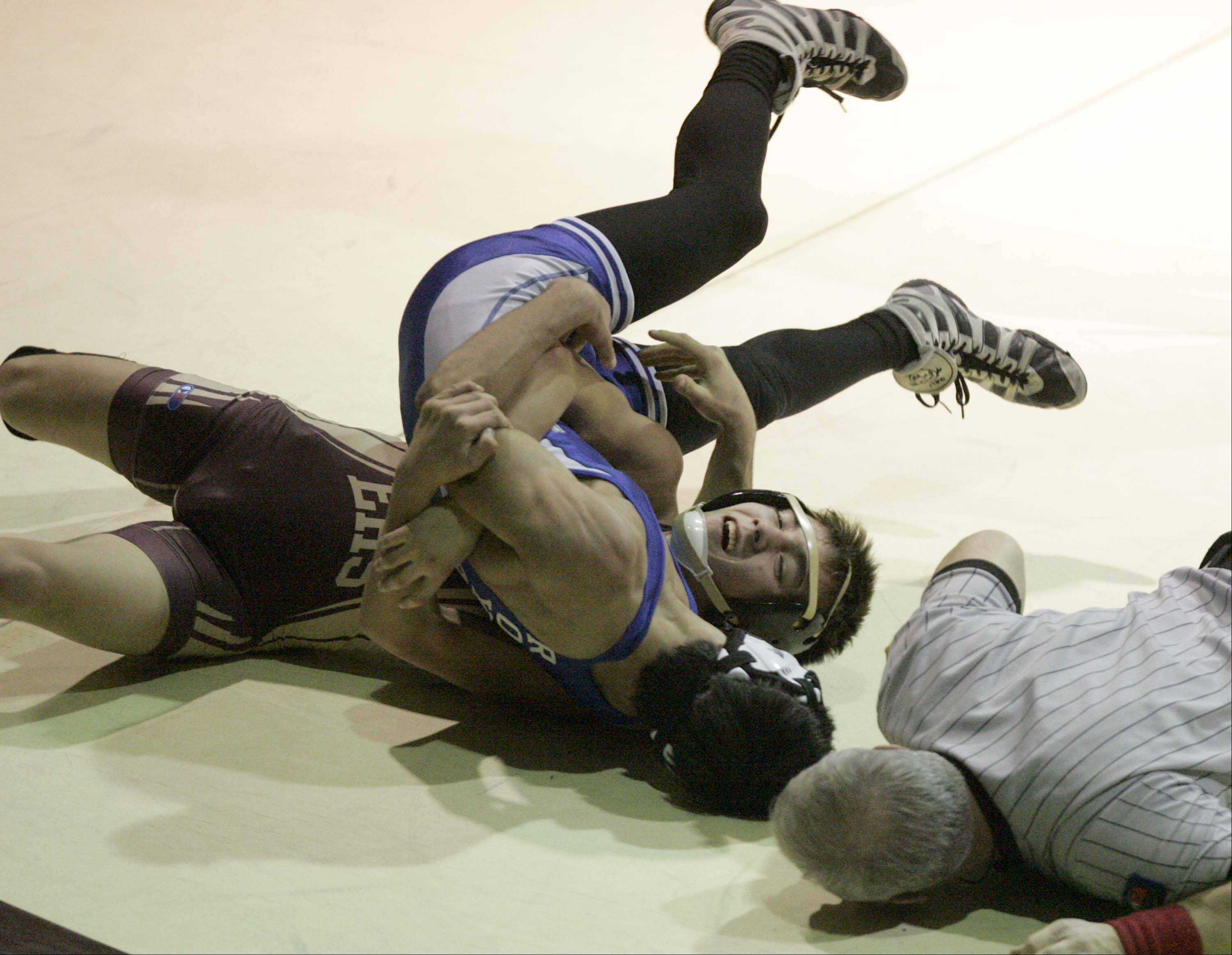 Larkin's Duke Bogicevic wrestles Elgin's Tyler Von Essen during the 126-pound match at Elgin High School on Friday.