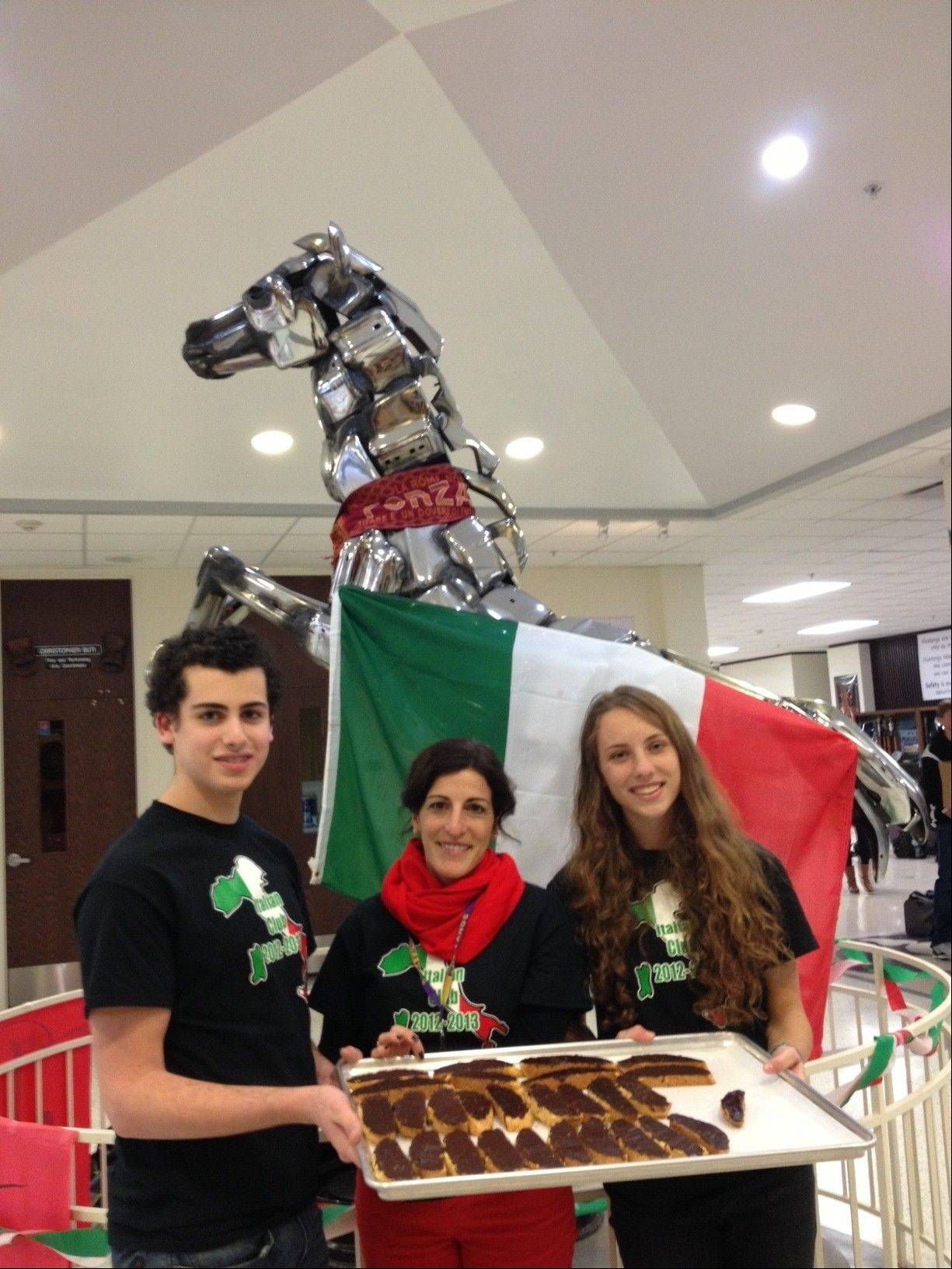 Pictured, from left, are Italian Club secretary James Rooney, Rolling Meadows High School teacher Tona Costello and Italian Club secretary Mary Collins.