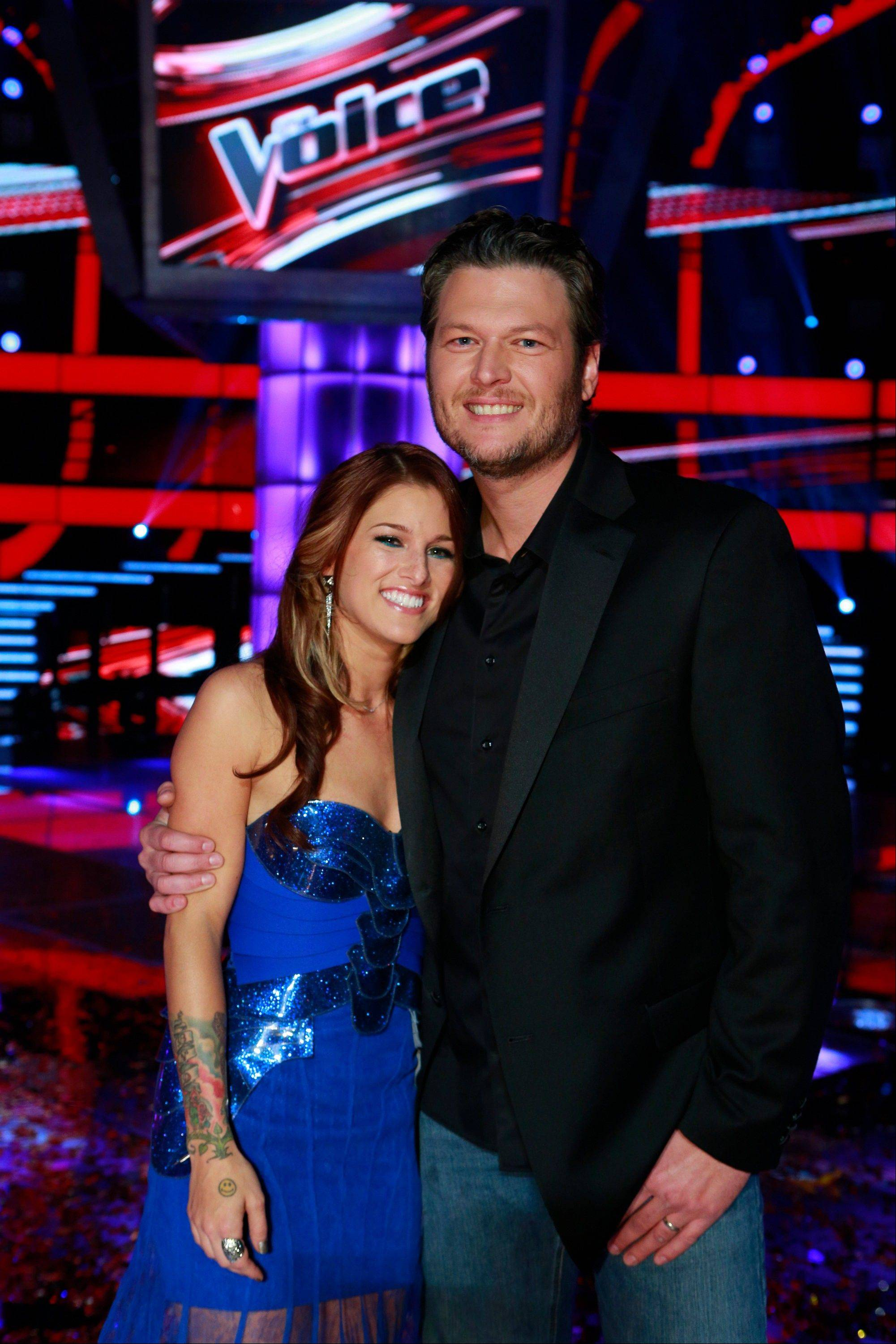 Cassadee Pope, with her mentor Blake Shelton, won the third season of �The Voice� Tuesday.