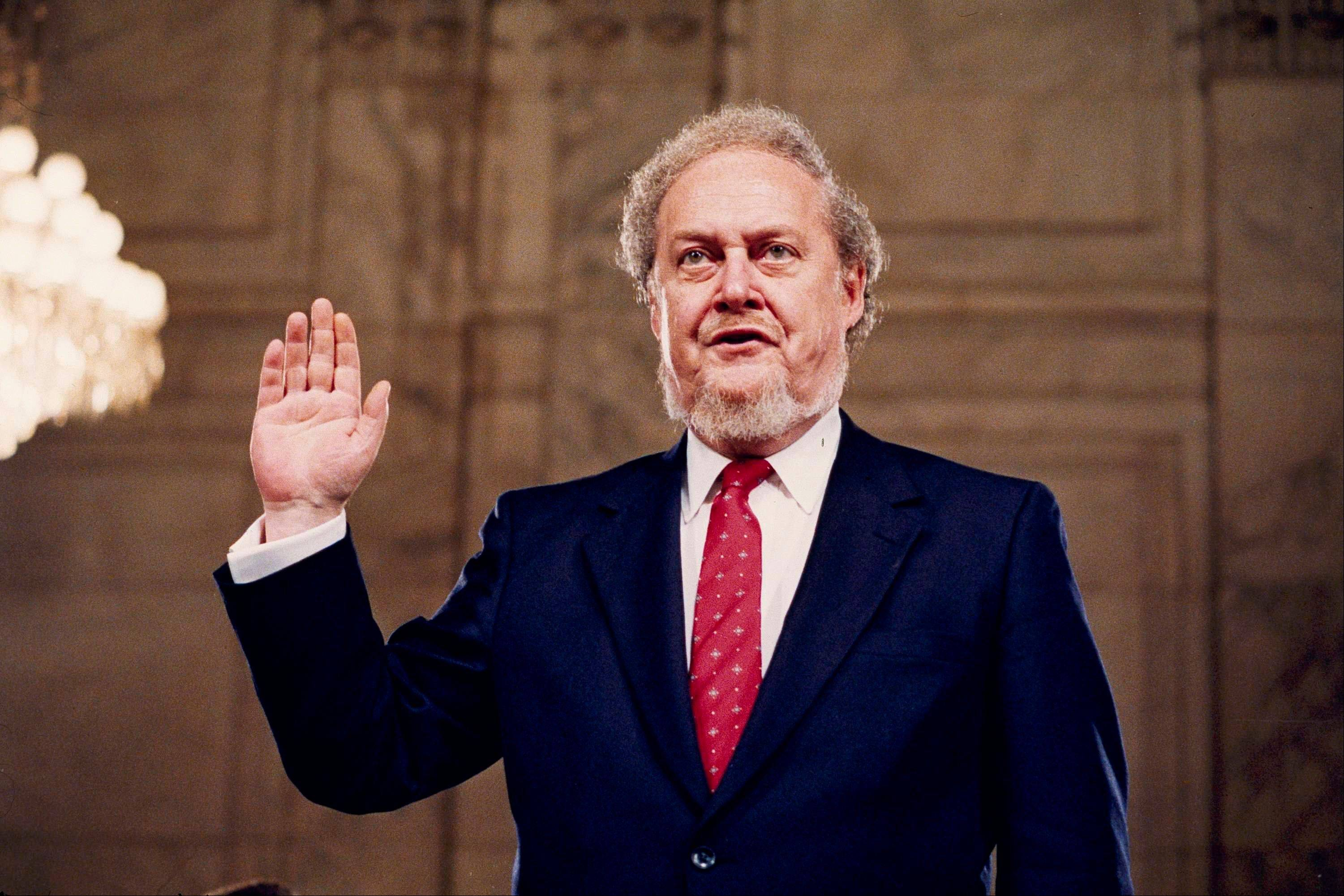 Judge Robert Bork, nominated by President Reagan to be an associate justice of the Supreme Court, is sworn before the Senate Judiciary Committee on Capitol Hill at his confirmation hearing in 1987. Robert Bork, whose failed Supreme Court nomination made history, has died.