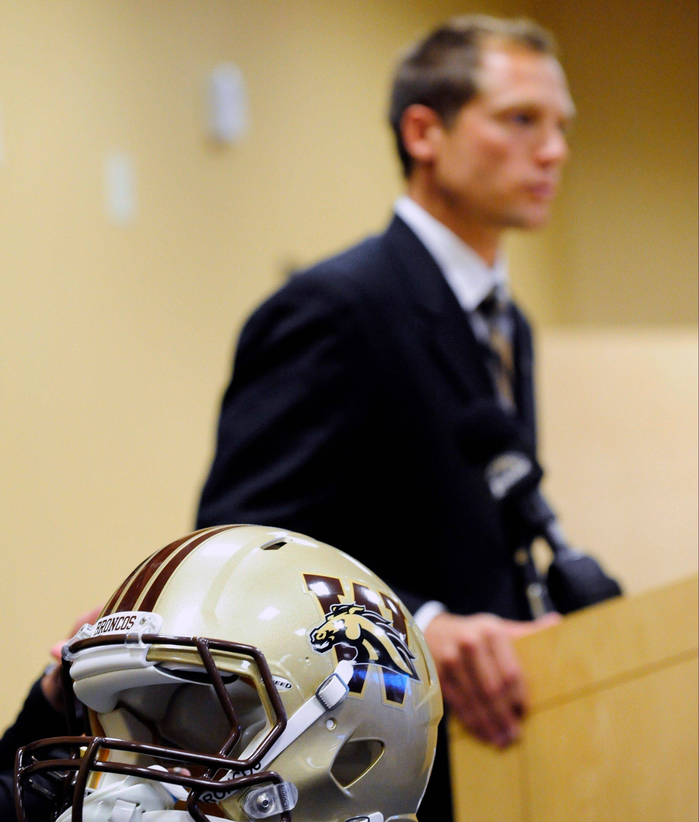 Here's P.J. Fleck, above speaking after being named as Western Michigan's new football coach on Tuesday, and below during his senior year 13 years ago playing football at Kaneland High School.
