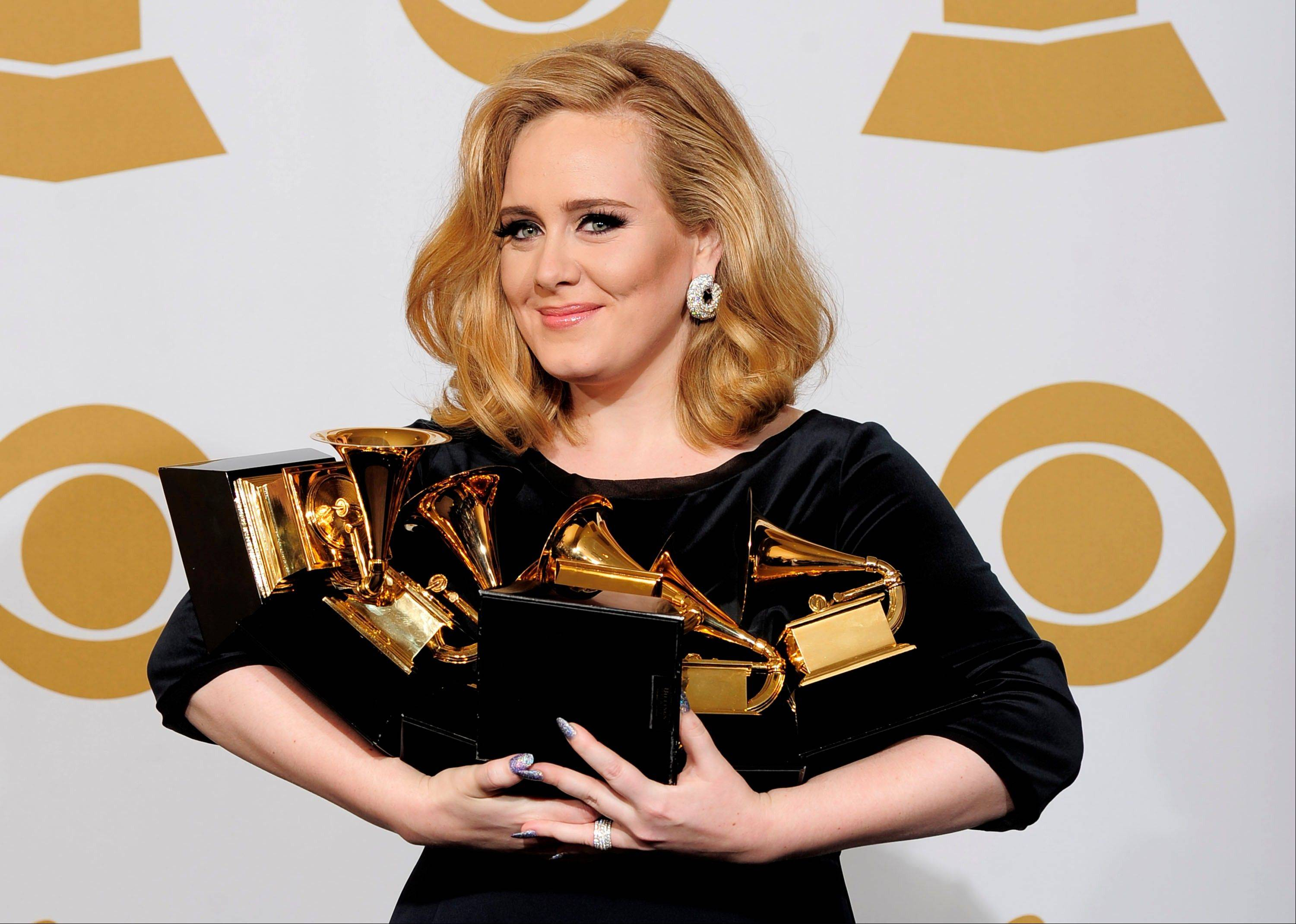 Adele, who won six Grammy this year, has been voted The Associated Press Entertainer of the Year.
