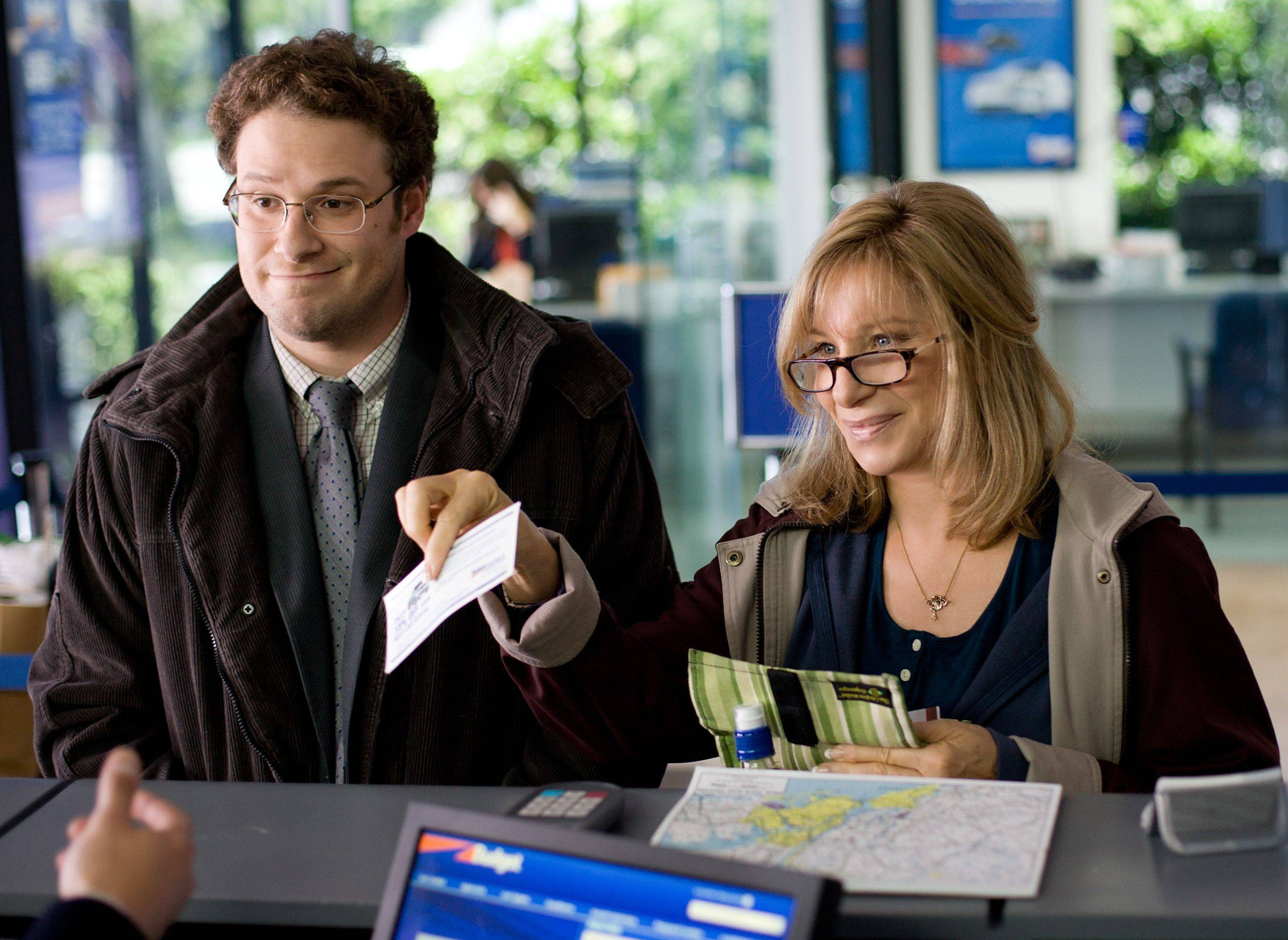 "Andrew (Seth Rogen), left, hits the road with his nagging mother Joyce (Barbra Streisand) in ""The Guilt Trip."""