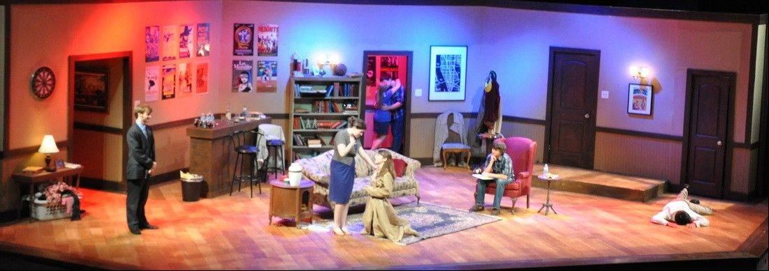 "From left, Brian Stumph, Bridget Sullivan, Athena Kopulos, Jake Rosenberg, Natalia Torchalski, Marty Quinn and Hugo San Roman in a scene from ""Figments."""
