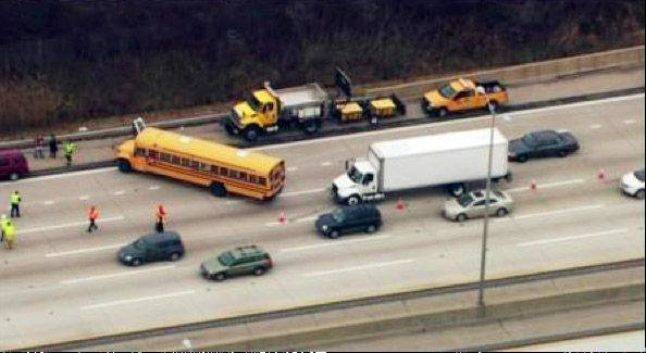 Twenty-two people, most of them children, were hurt Wednesday when a school bus from Palombi Middle School in Lake Villa was involved in a crash on the Tri-State Tollway.