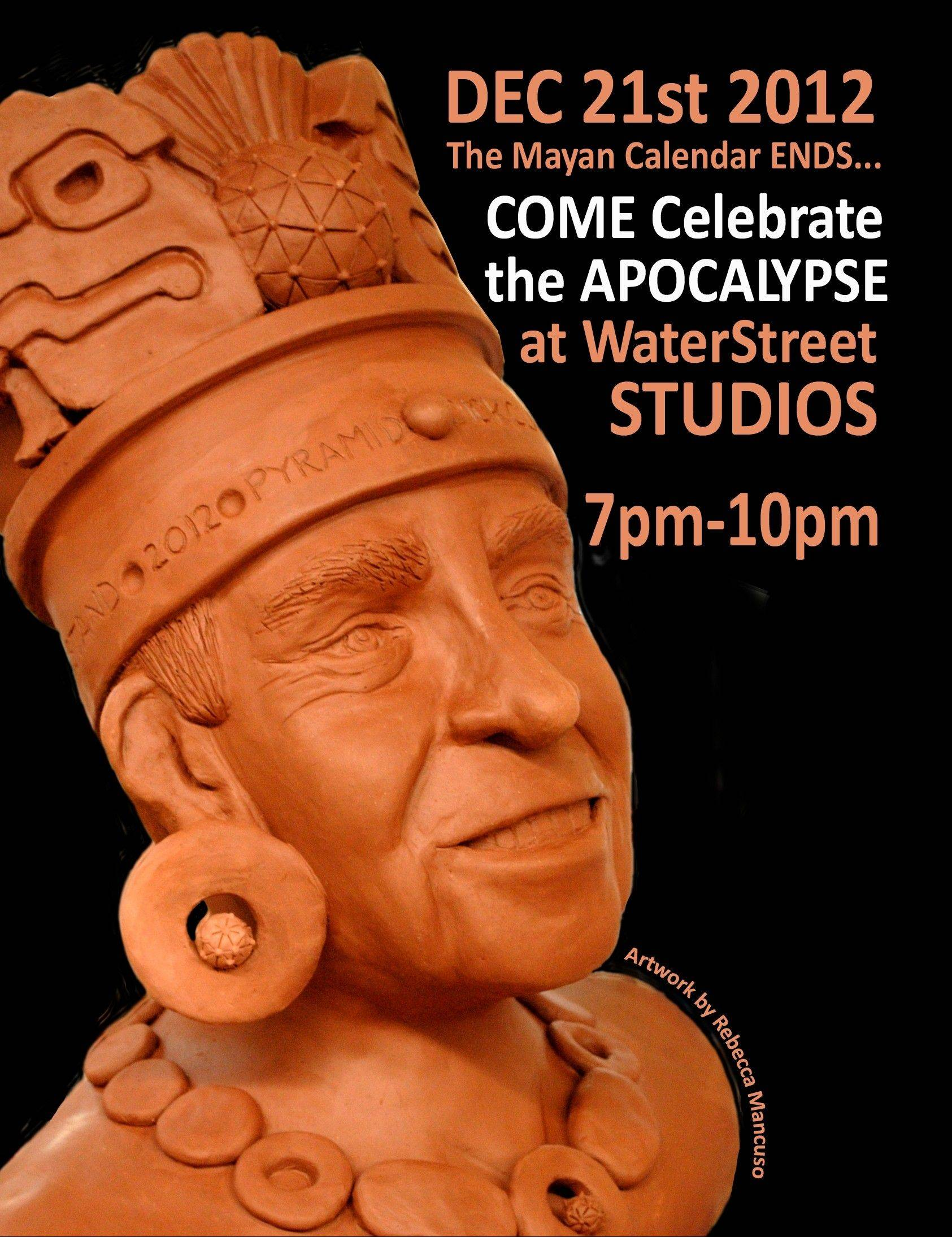 "A Mayan sculpture, by artist Rebecca Mancuso, is featured in a flyer for the ""Apocalypse: An Exploration of the End of Days"" art exhibit Friday night at Water Street Studios in Batavia Friday. The exhibit will feature artists' interpretations of the end of the world. The exhibit will run through Dec. 30."