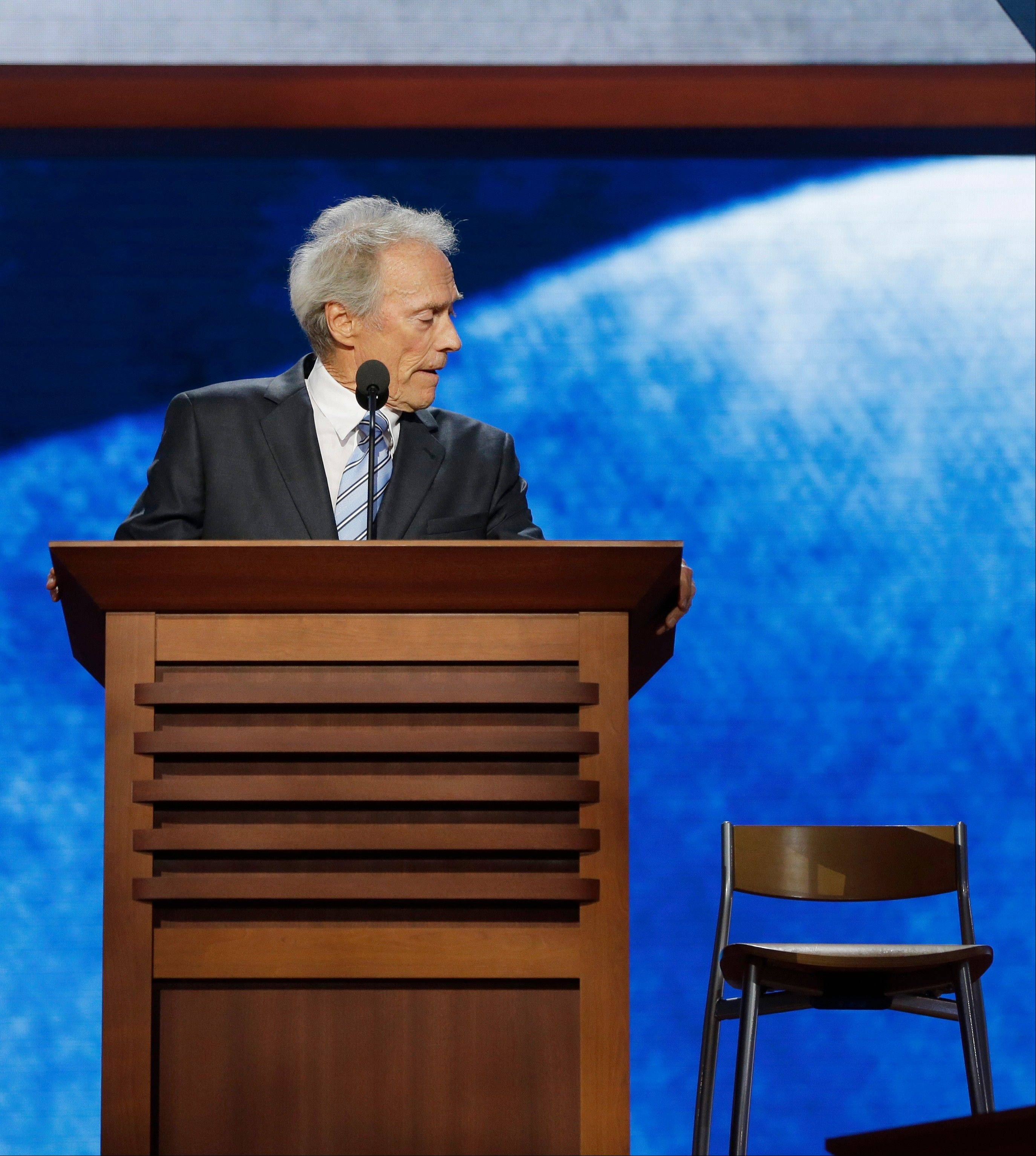 Actor Clint Eastwood looks toward an empty chair as he addresses the Republican National Convention in Tampa, Fla.