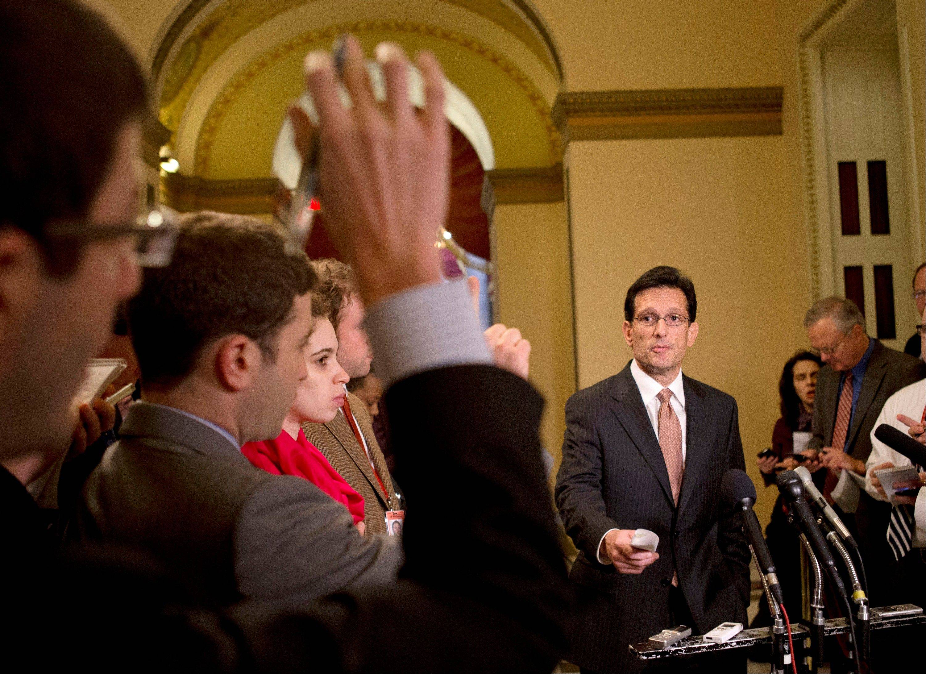 "House Majority Leader Rep. Eric Cantor speaks to reporters about the fiscal cliff and ""Plan B"" at the U.S. Capitol in Washington on Thursday. Later in the day, House Republicans abandoned their intention to approve ""Plan B,"" presumably over a lack of support."