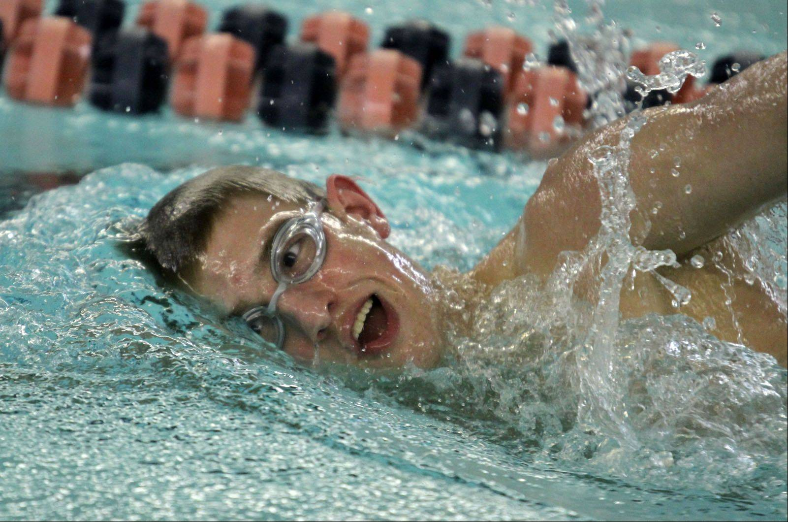 Buffalo Grove High School senior Matt Schulstad of Arlington Heights practices Wednesday at the school's pool. School District 214 officials have approved a plan for $11 million in renovations at the 40-year-old facility.