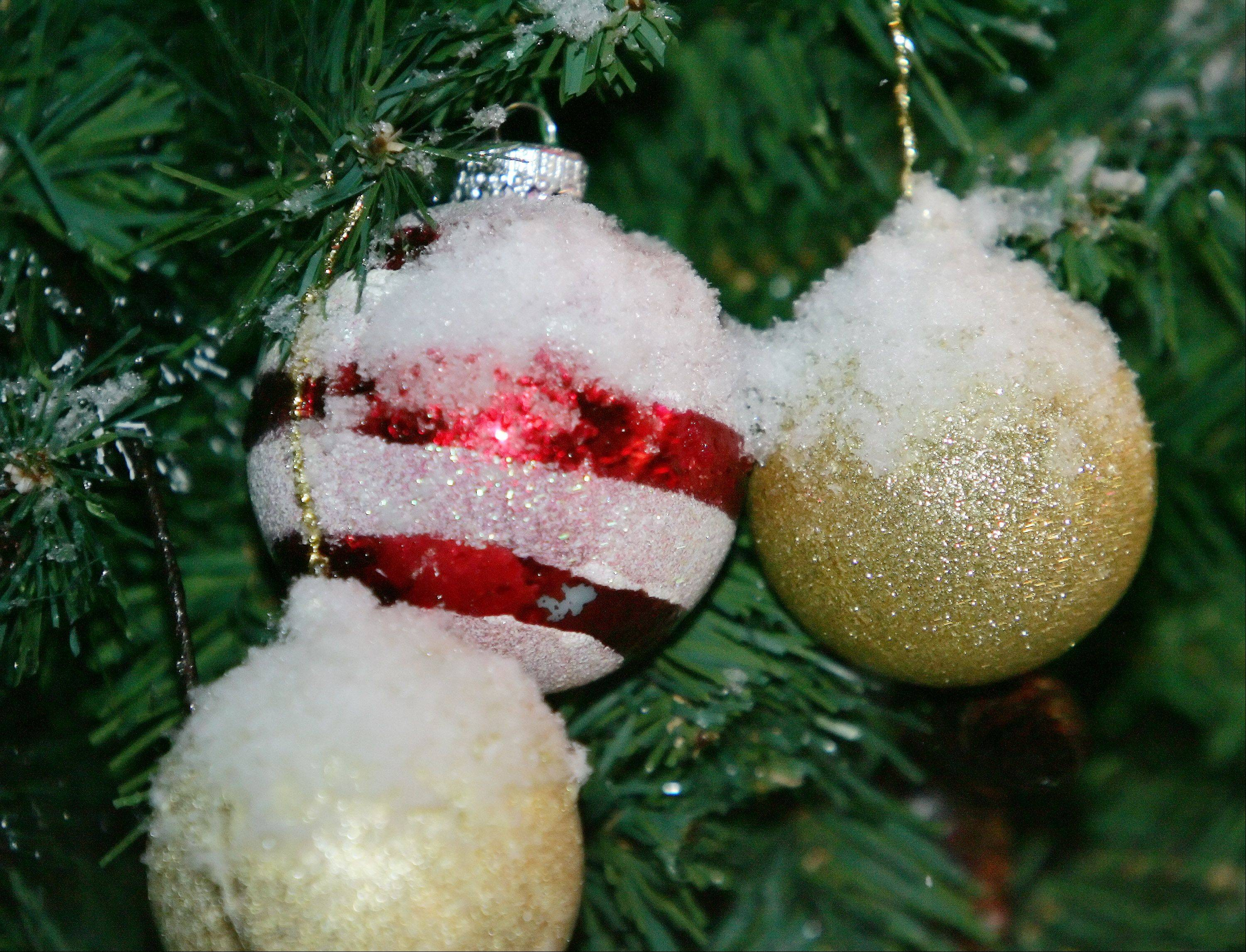 Christmas ornaments are covered in snow at Flowerama flower shop in Mundelein as snow fell for the first time this winter in Lake County Thursday.