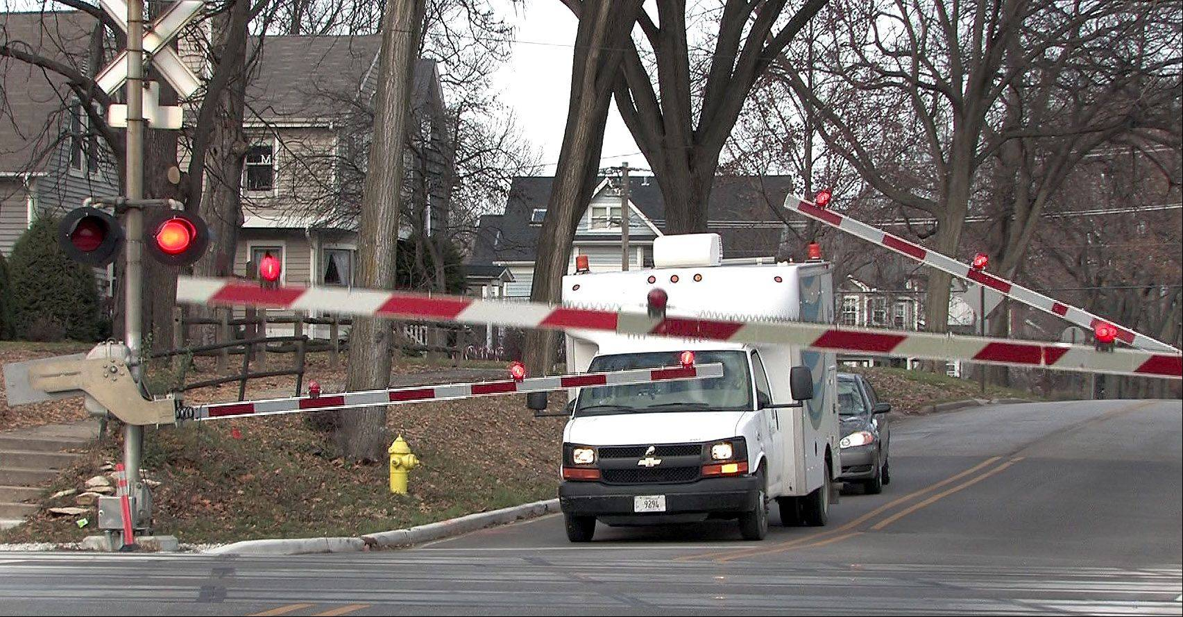 The railroad crossing at Monroe Street and Hinsdale Avenue in Hinsdale has four-quad gates to make it safer.