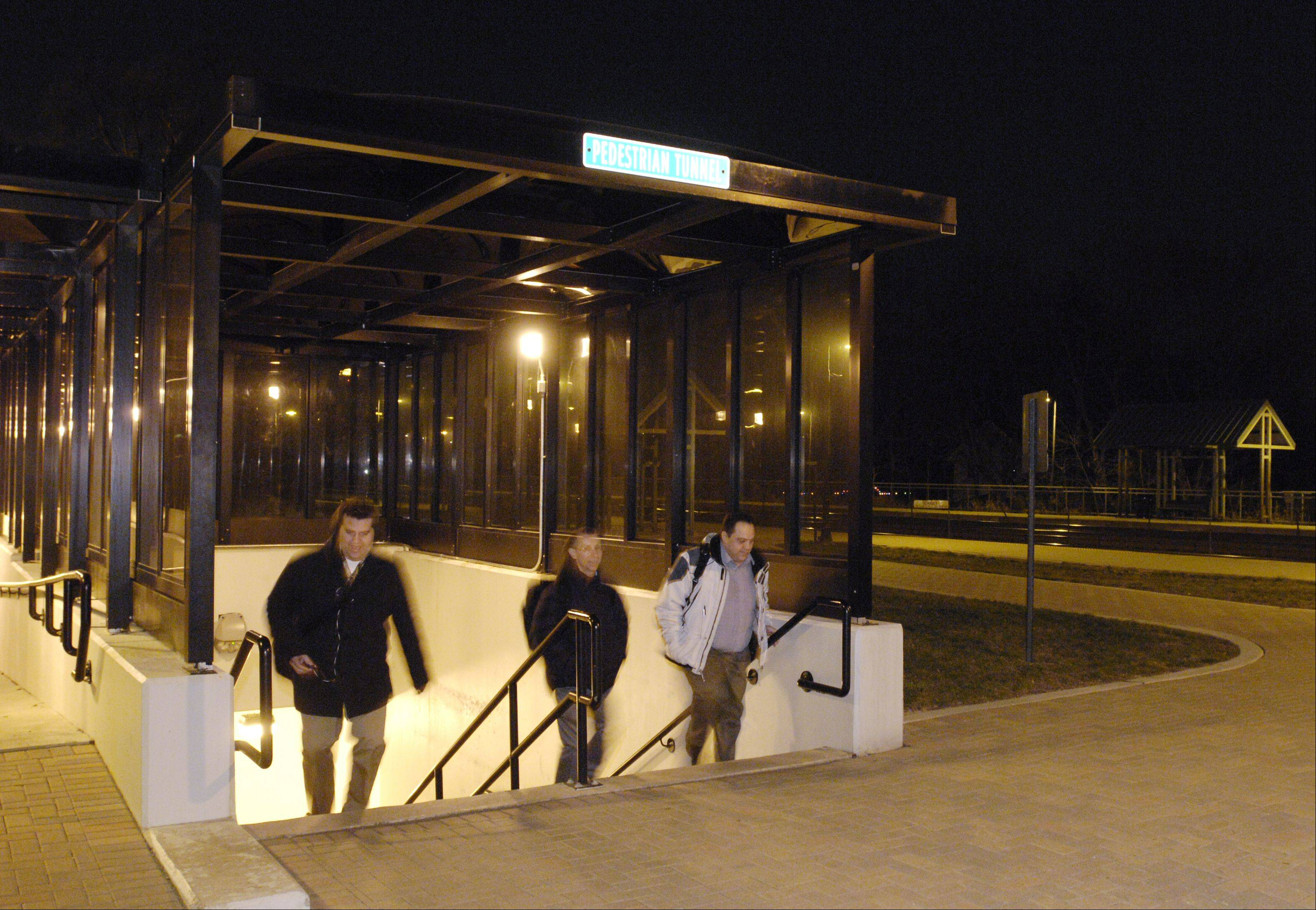 Commuters use the pedestrian tunnel at the Winfield Metra station. It took years of persistence but the village eventually obtained enough grants to build the $4 million structure.