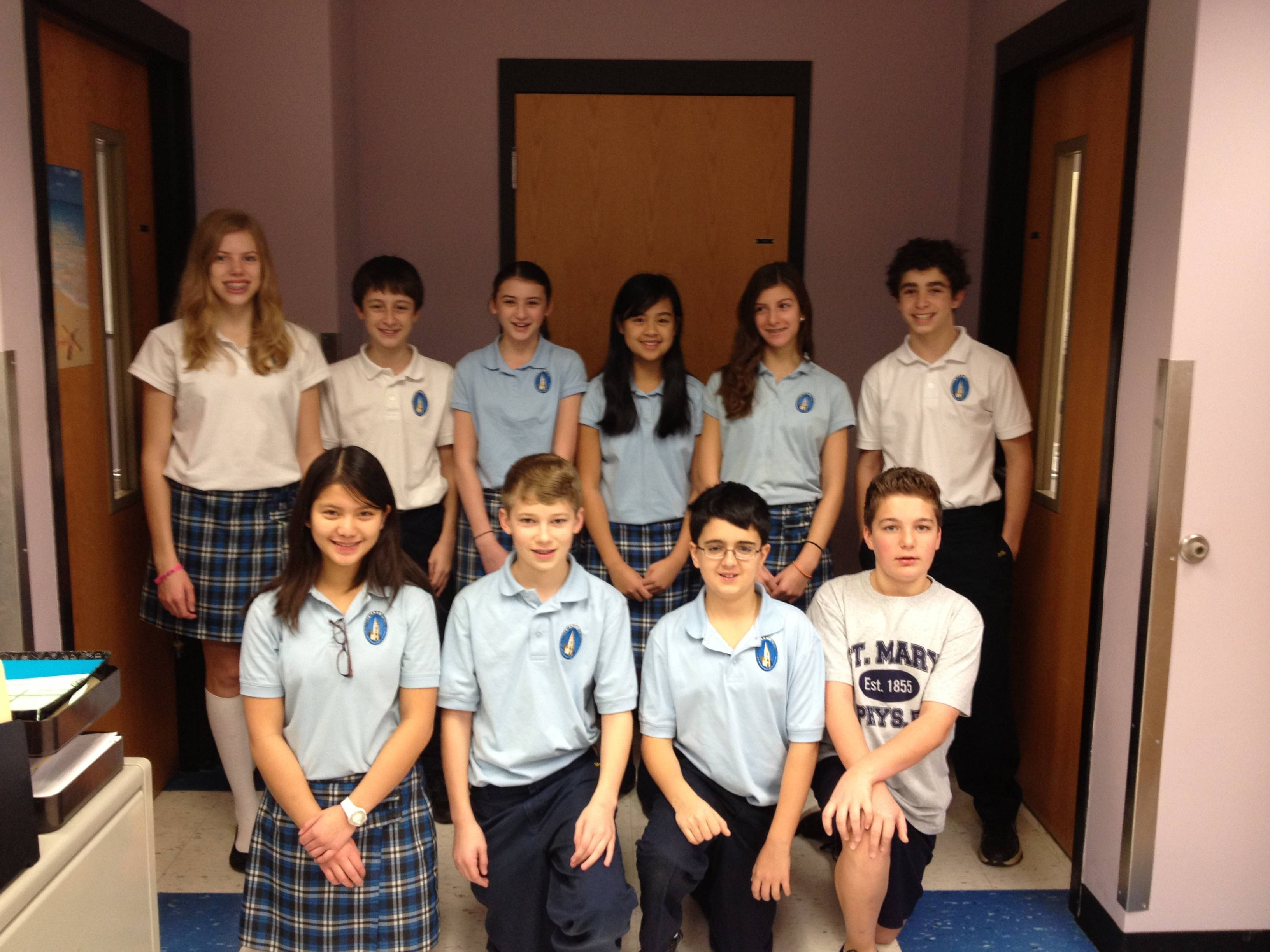 Saint Mary BG 7th grade science fair winners