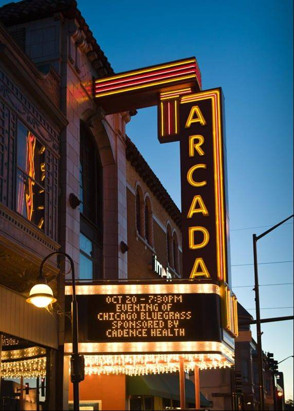 "St. Charles Arcada Theater marquee showcases the Noon Rotary Club's major fundraiser ""An Evening of Chicago Bluegrass"" which generated $33,000 for local scholarships and local nonprofit charitable giving."