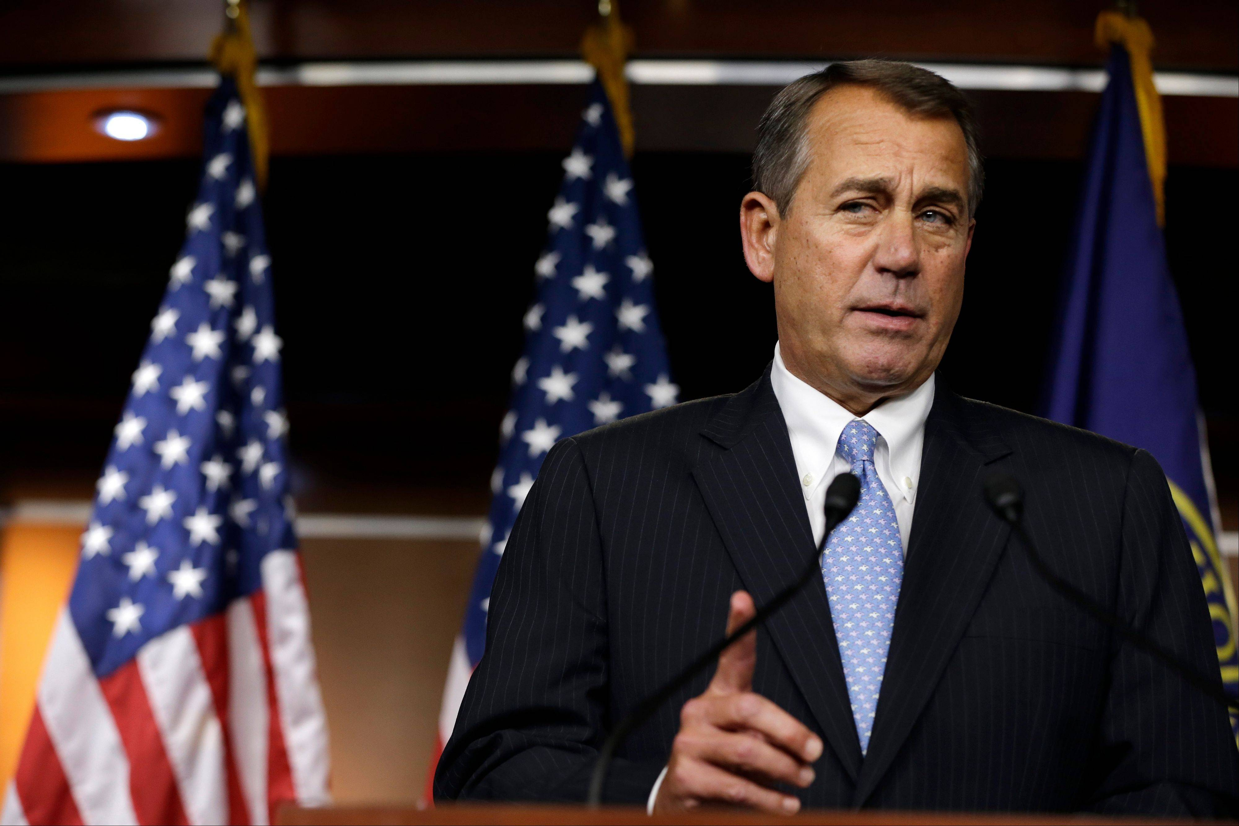 House Speaker Rep. John Boehner of Ohio, speaks to the media about the fiscal cliff at the U.S. Capitol in Washington, on Thursday.