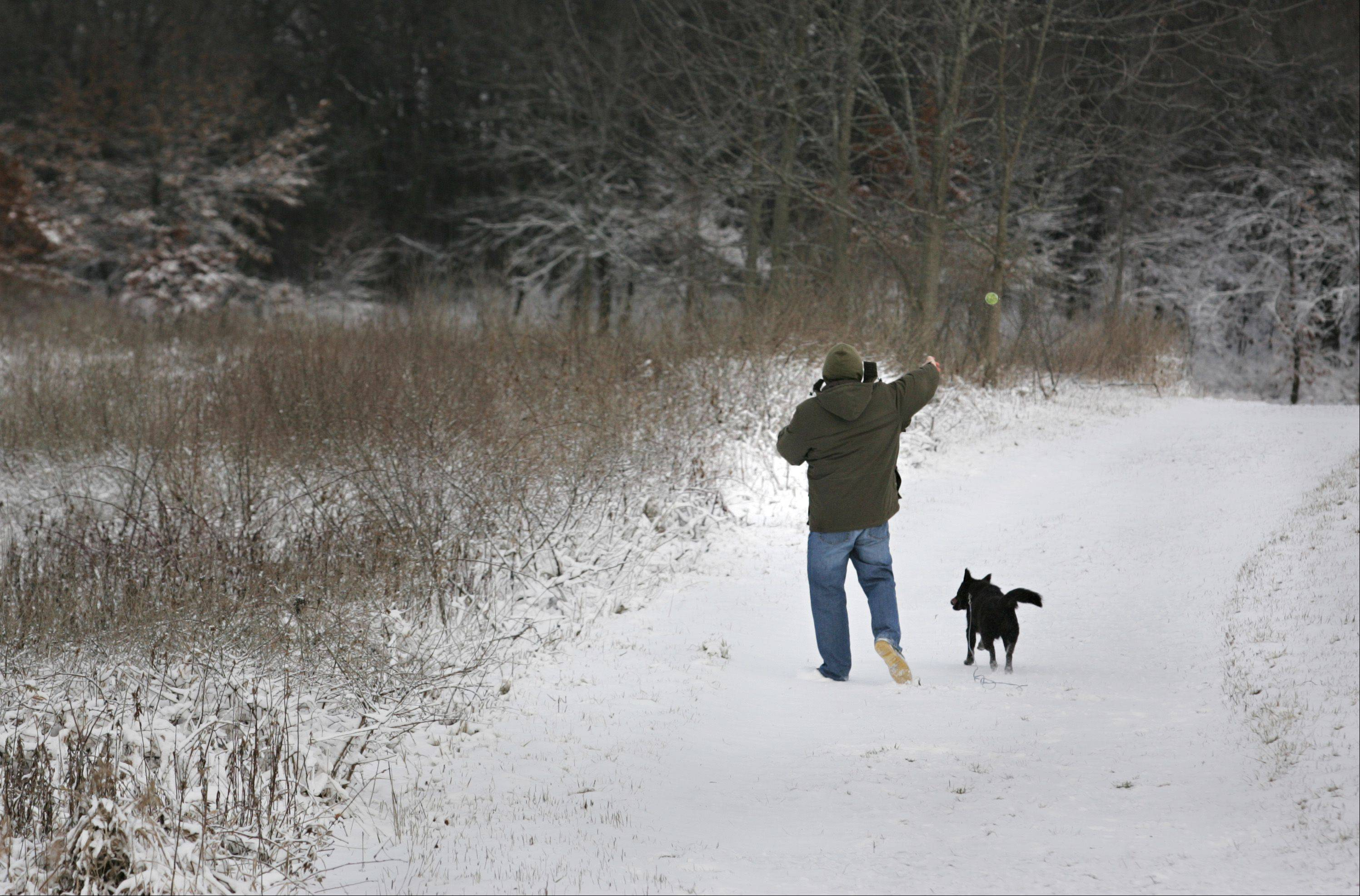 Don Ernst of Pingree Grove takes a walk with his dog Indigo Friday morning at the Hampshire Forest Preserve on Allen Road. Ernst said he was hoping the overnight storm would have brought more snow, instead of all the rain that preceded it. He would have liked to do without all the wind, too, but at least the sun was shining.